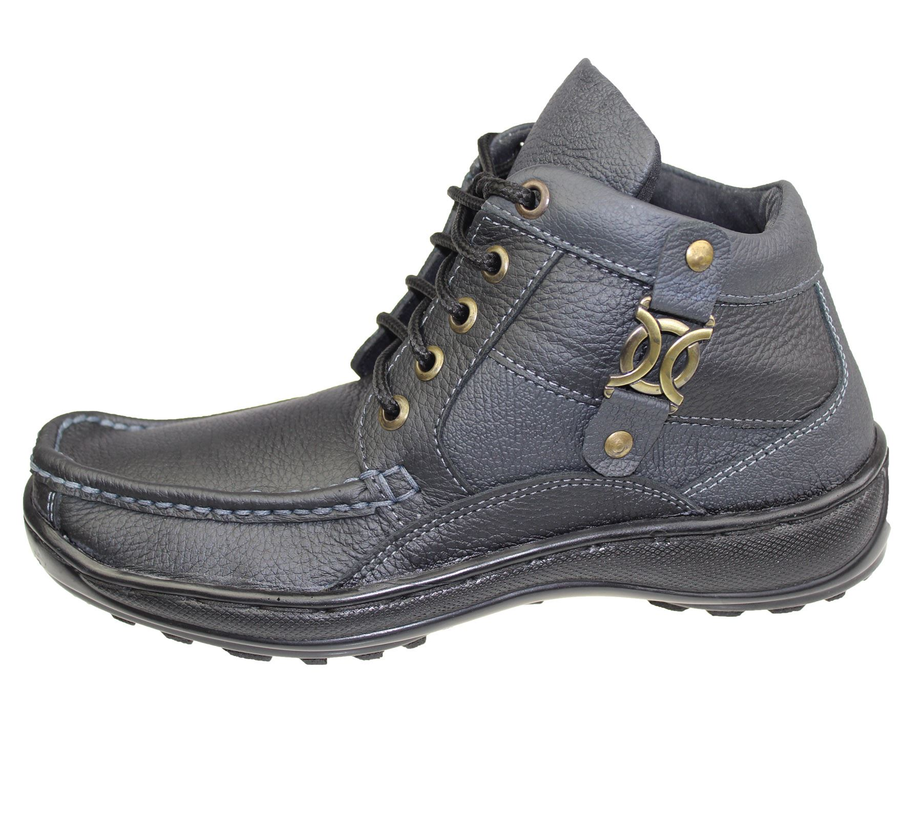 mens leather work boots hig top ankle hiking trail biker