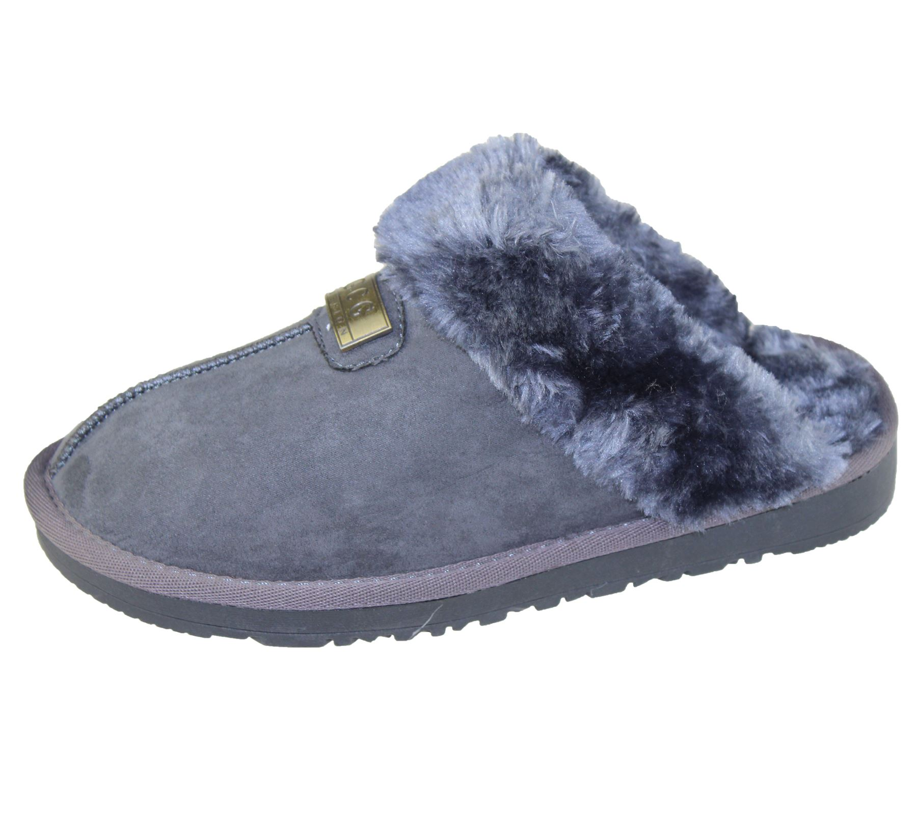 womens fur lined slippers mules non slip rubber