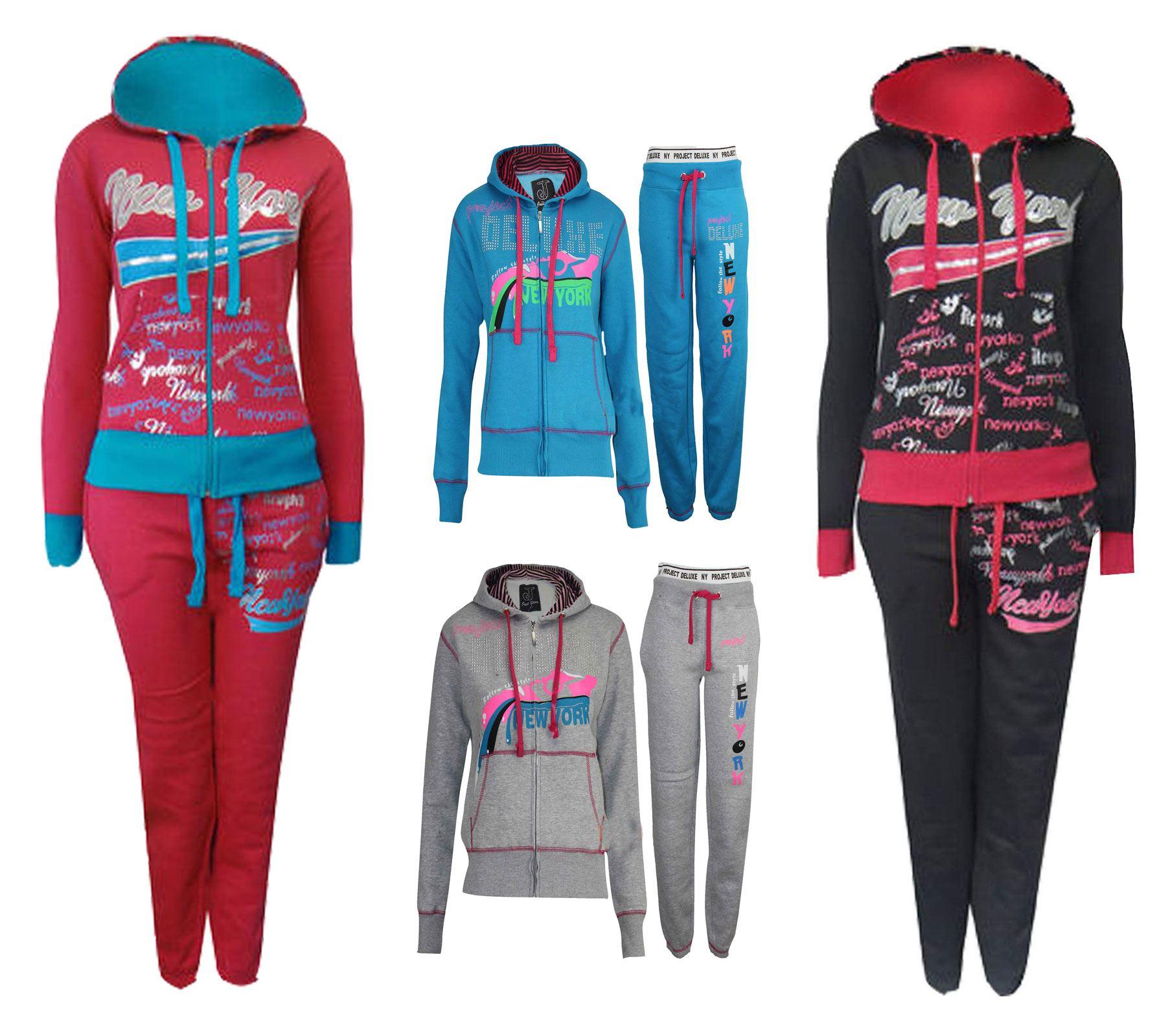 Womens Tracksuit Ladies Girls Gym Sport Jogging Fleece Sweatshirt ...