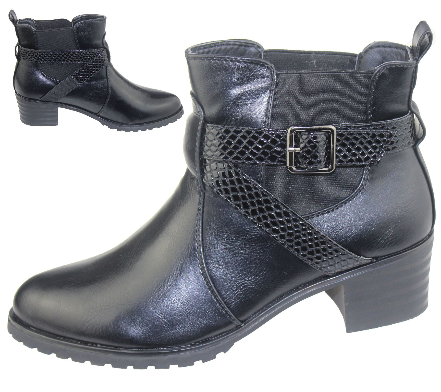 Womens Ankle Boots Ladies Low Heel Chelsea High Top Casual