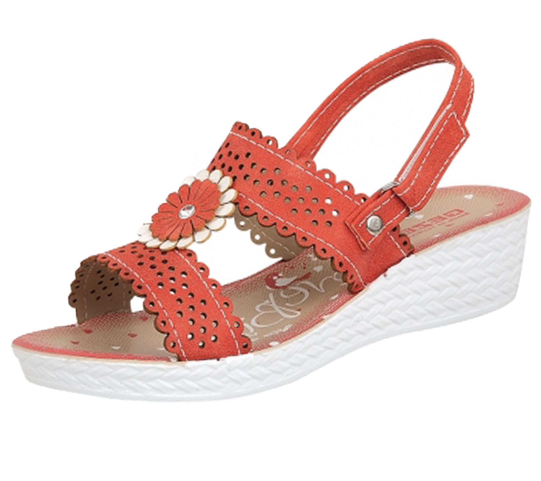 GIRLS SUMMER WEDGE LOW HEEL SANDALS FLIP FLOPS FLOWER ...