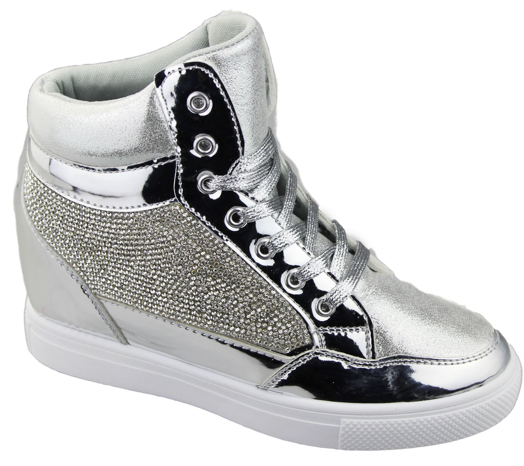 womens wedge heel high top ankle boot ladies diamante summer shoes