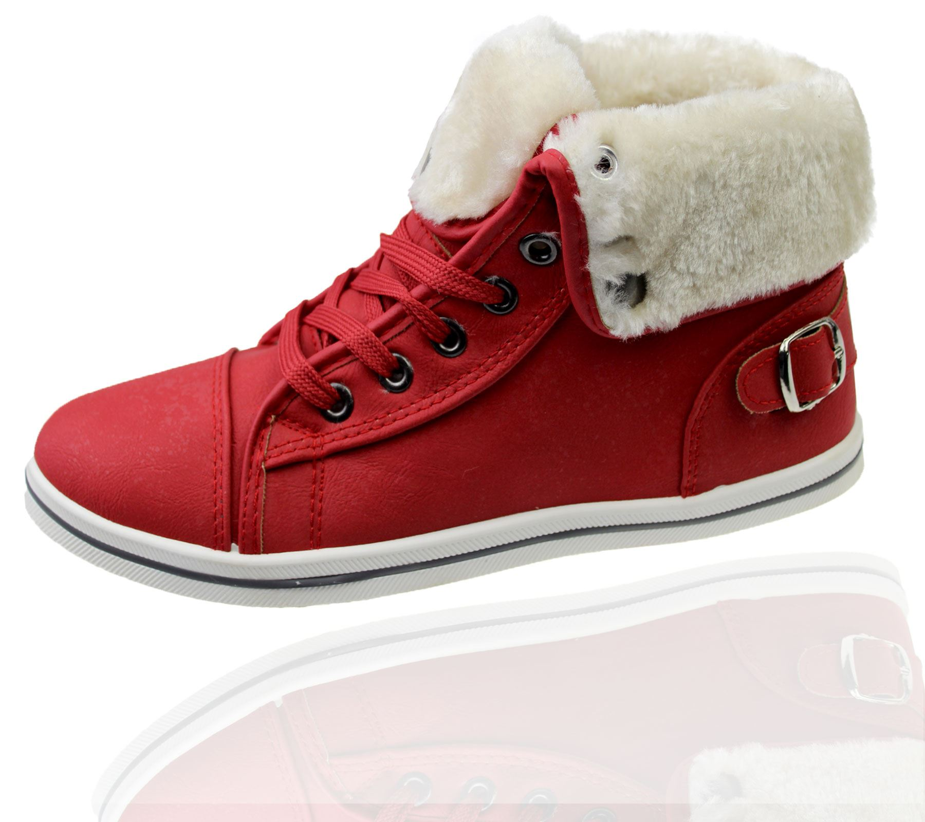 Girls-Boots-Womens-Warm-Lined-High-Top-Ankle-Trainer-Ladies-Winter-Shoes-Size miniatura 48