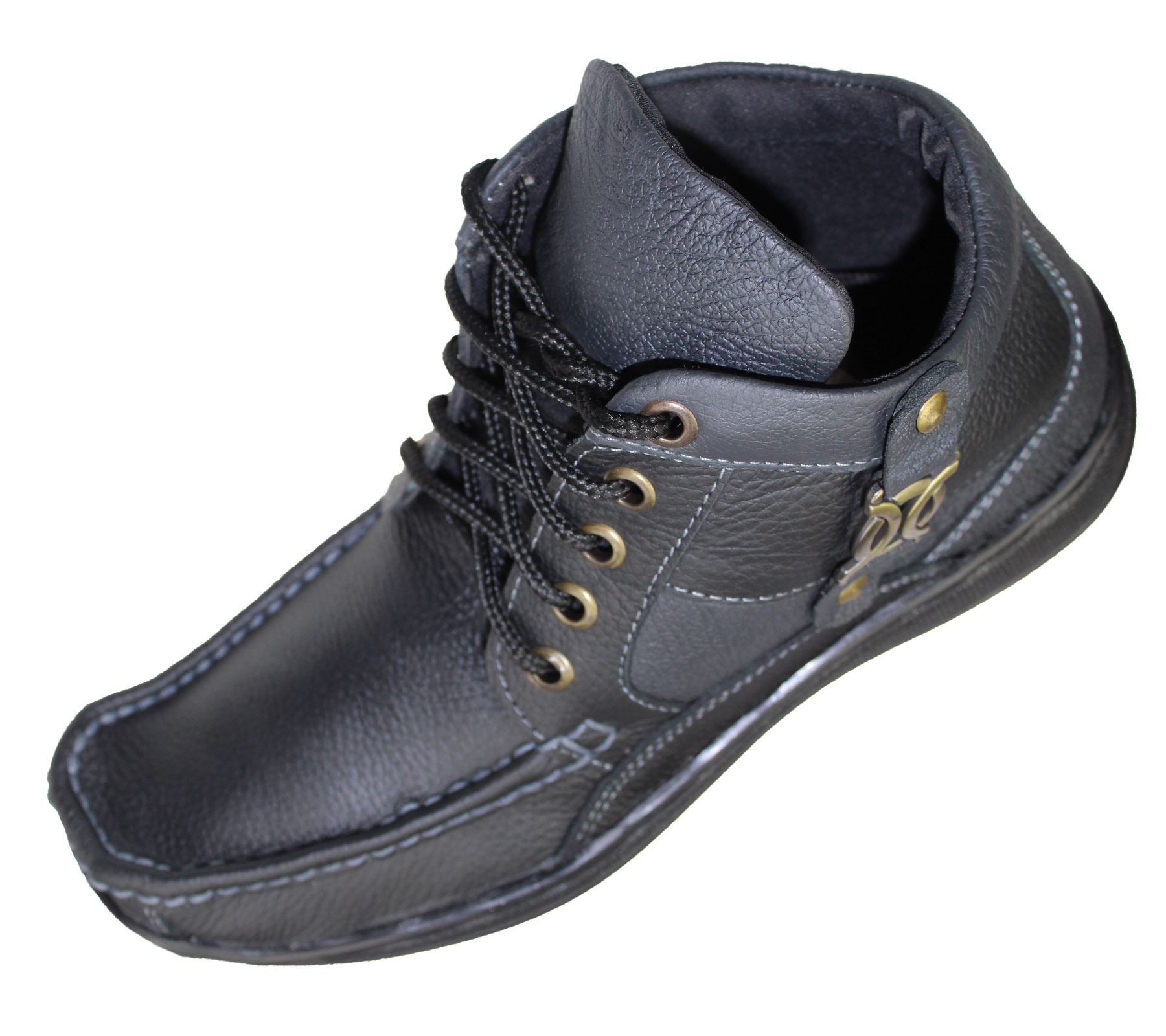 MENS LEATHER WORK BOOTS HIG TOP ANKLE HIKING TRAIL BIKER ...