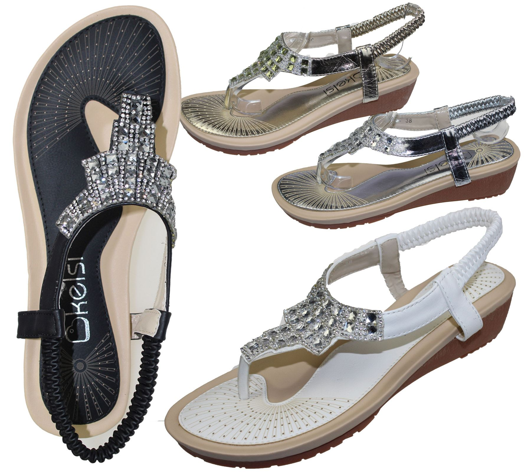 LADIES WOMENS NEW GLADIATOR DIAMANTE BRIDAL BLING SUMMER SANDALS FLIP FLOP SHOES