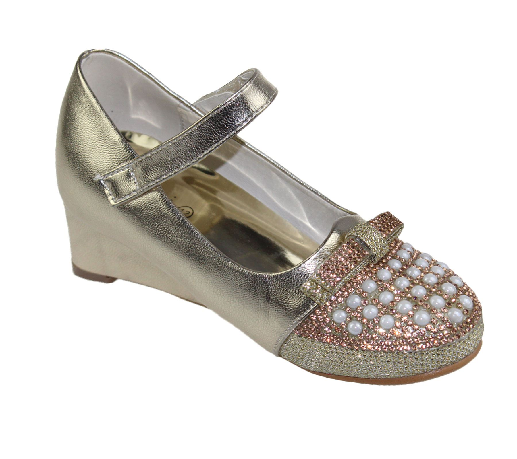 kollache wedge heel wedding fancy bow diamante