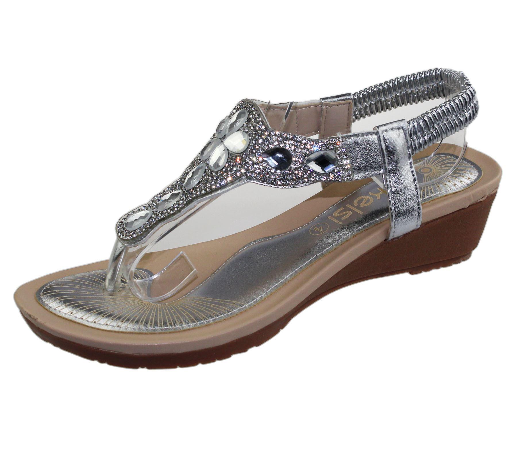 Womens Wedge Heel Sandals Ladies Diamante Toe Post