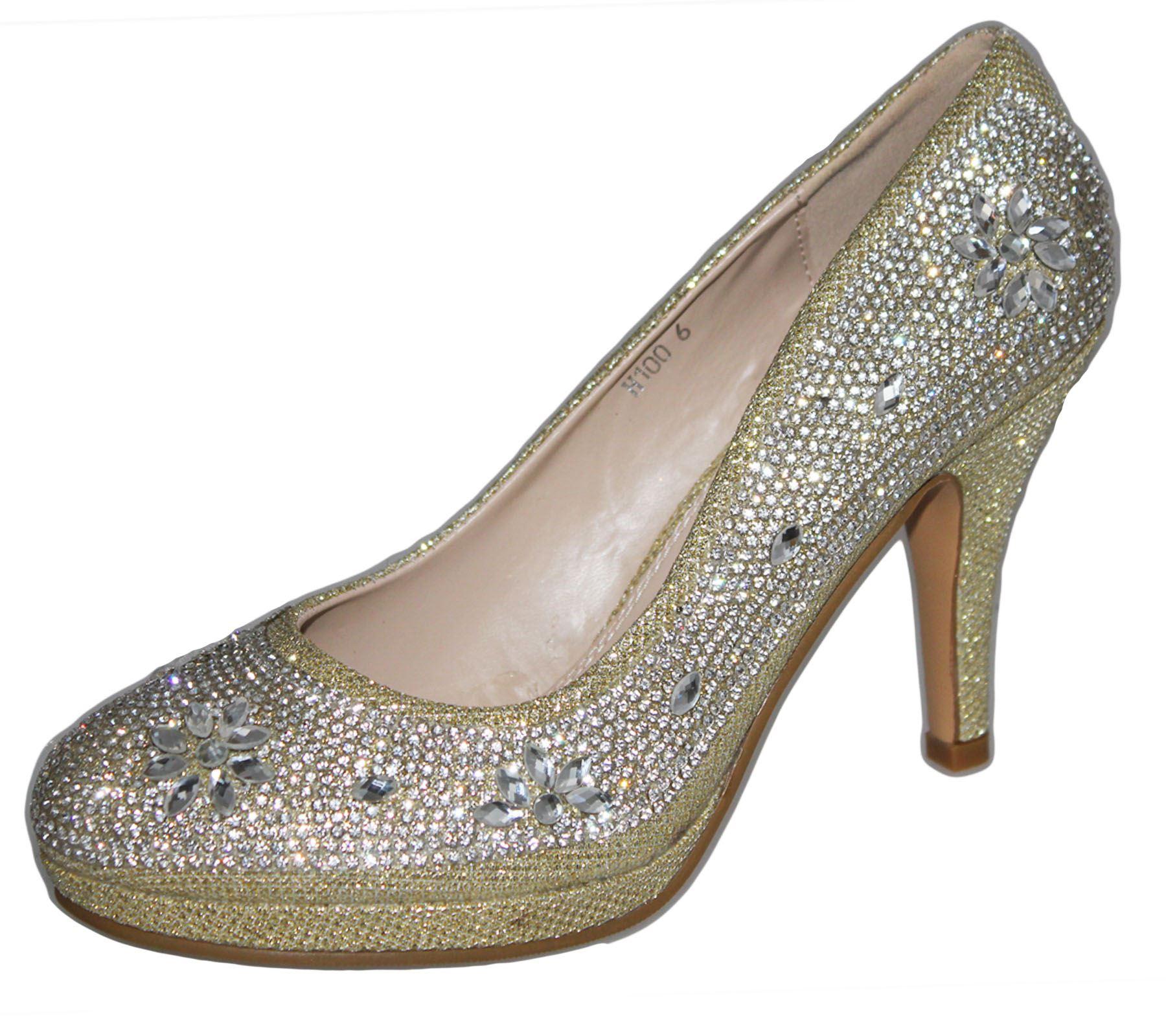 Womens-Platforms-High-Heels-Wedding-Bridal-Evening-Diamante-Ladies-Party-Shoes miniatura 26