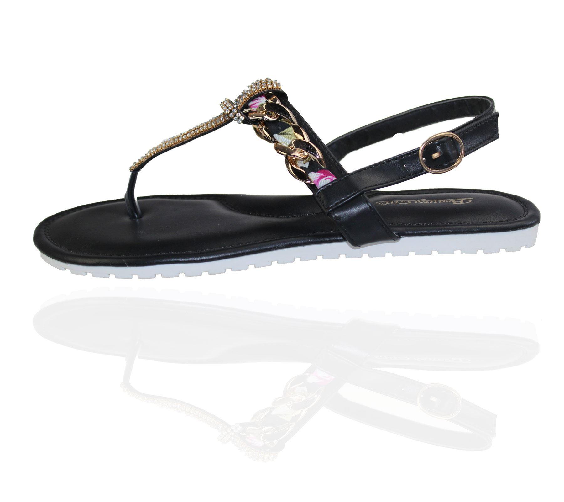 KOLLACHE-Womens-Buckle-Flat-Summer-Caual-Diamonte-Ladies-Evening-Party-Sandals thumbnail 4