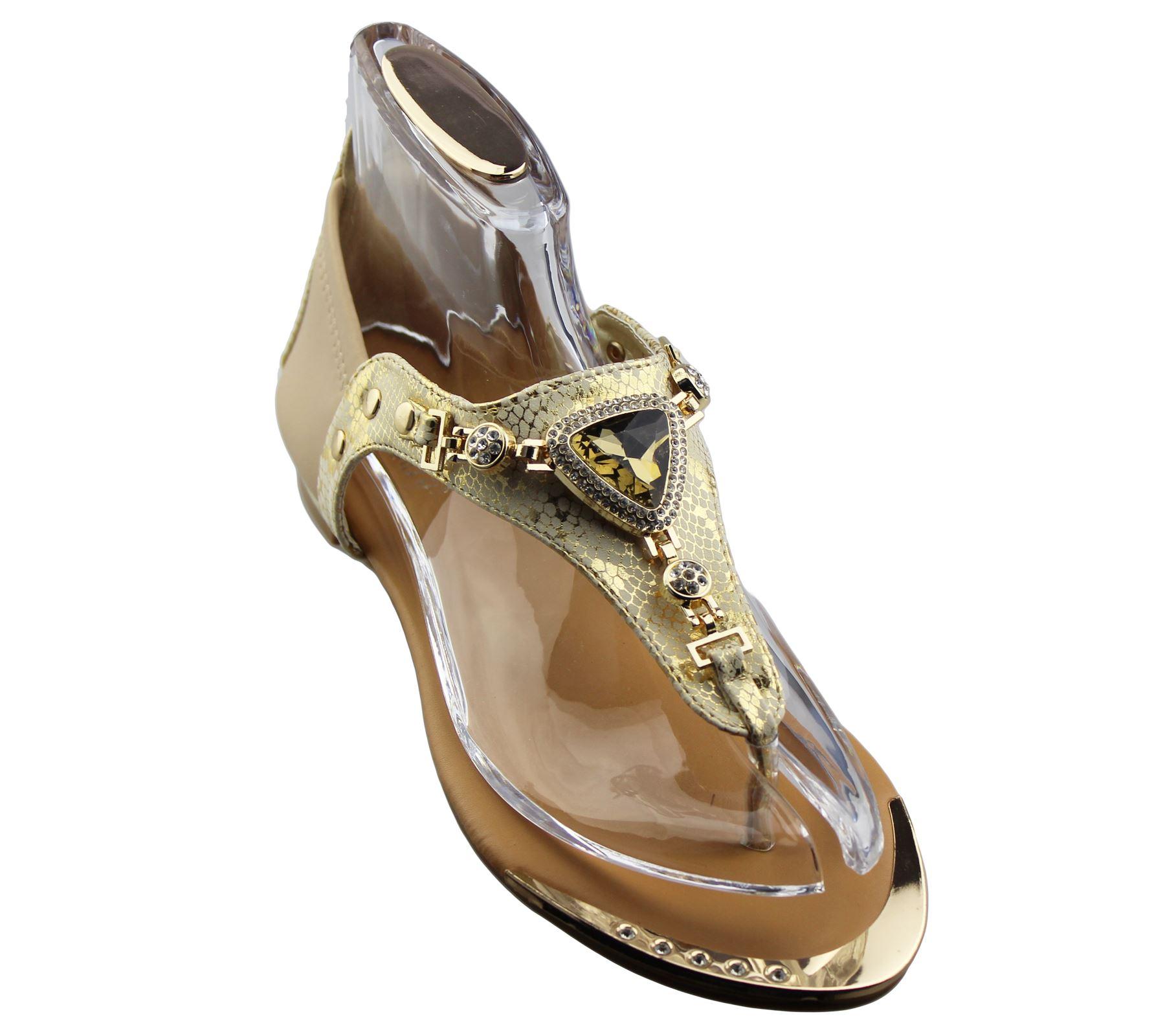 womens flat sandals diamante summer wedding shoes