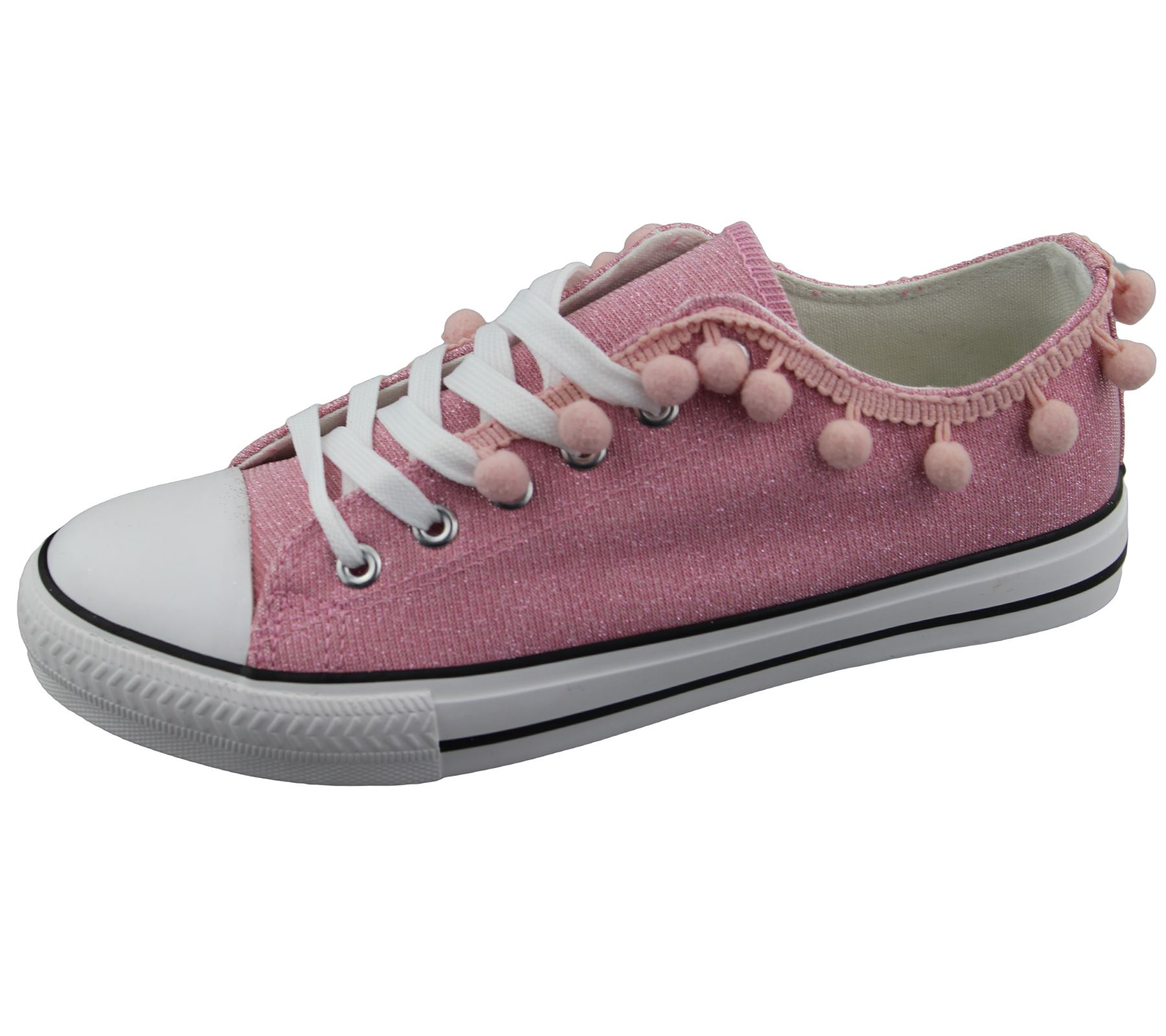 Womens Sneakers Flat Pumps Ladies Glittered Summer Plimsole Canvas Shoes