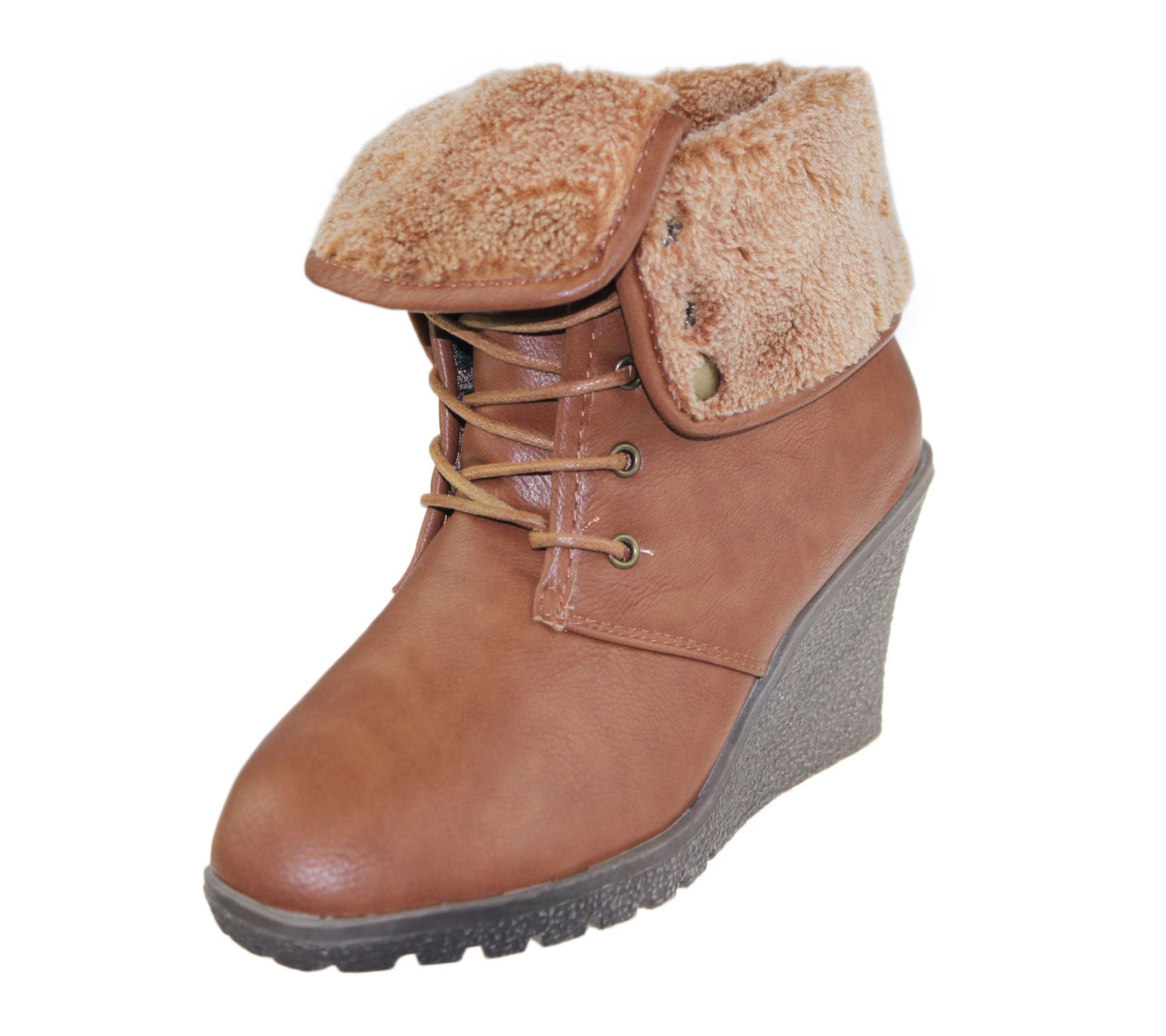Womens Ankle Boots Ladies Fur Collar Trainer Sneaker Wedge ...
