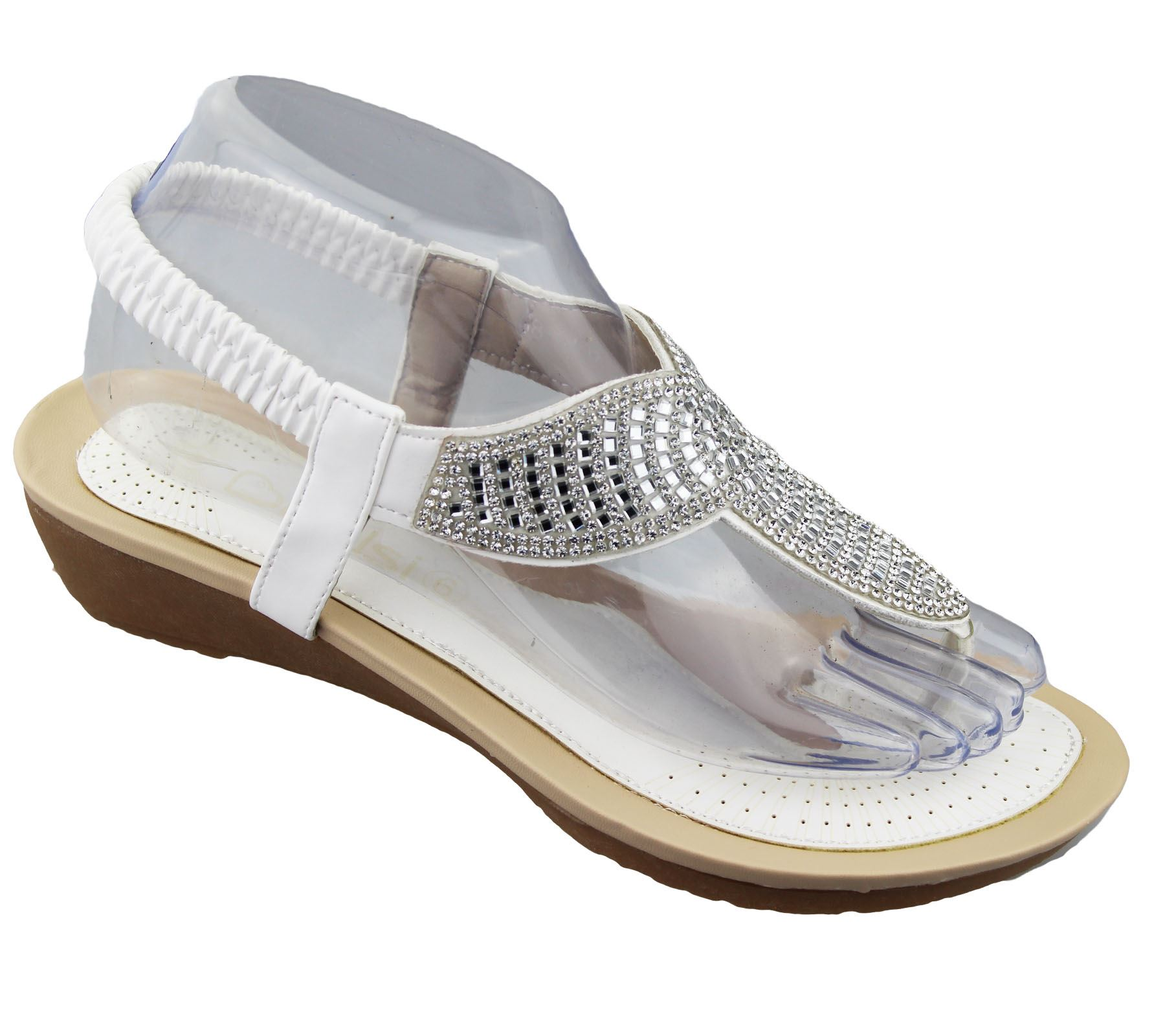 womens low wedge toe post sandals diamante summer