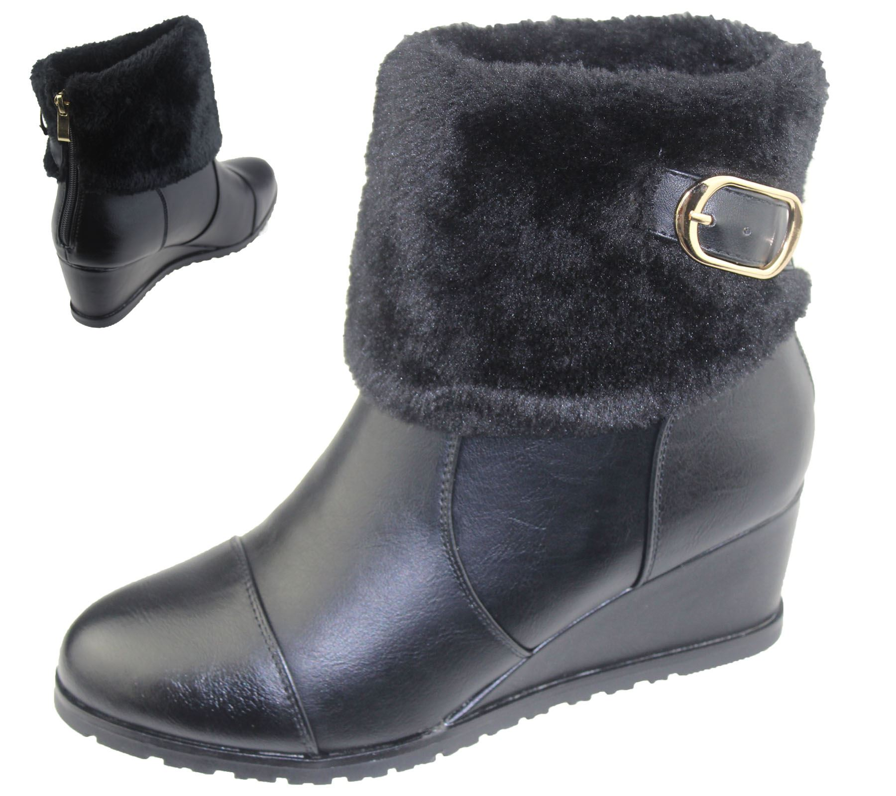womens wedge heel fur lined ankle boots chelsea
