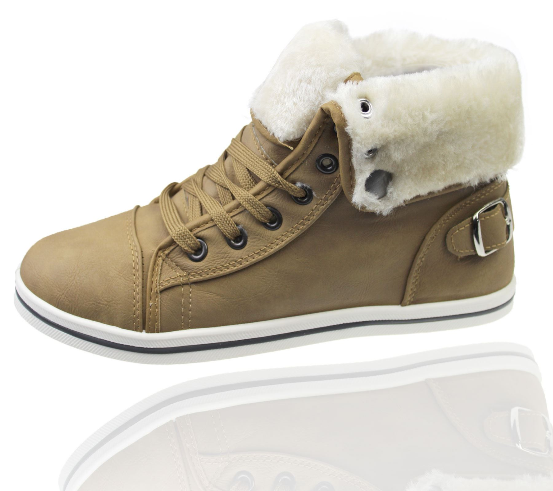 Girls-Boots-Womens-Warm-Lined-High-Top-Ankle-Trainer-Ladies-Winter-Shoes-Size miniatura 106