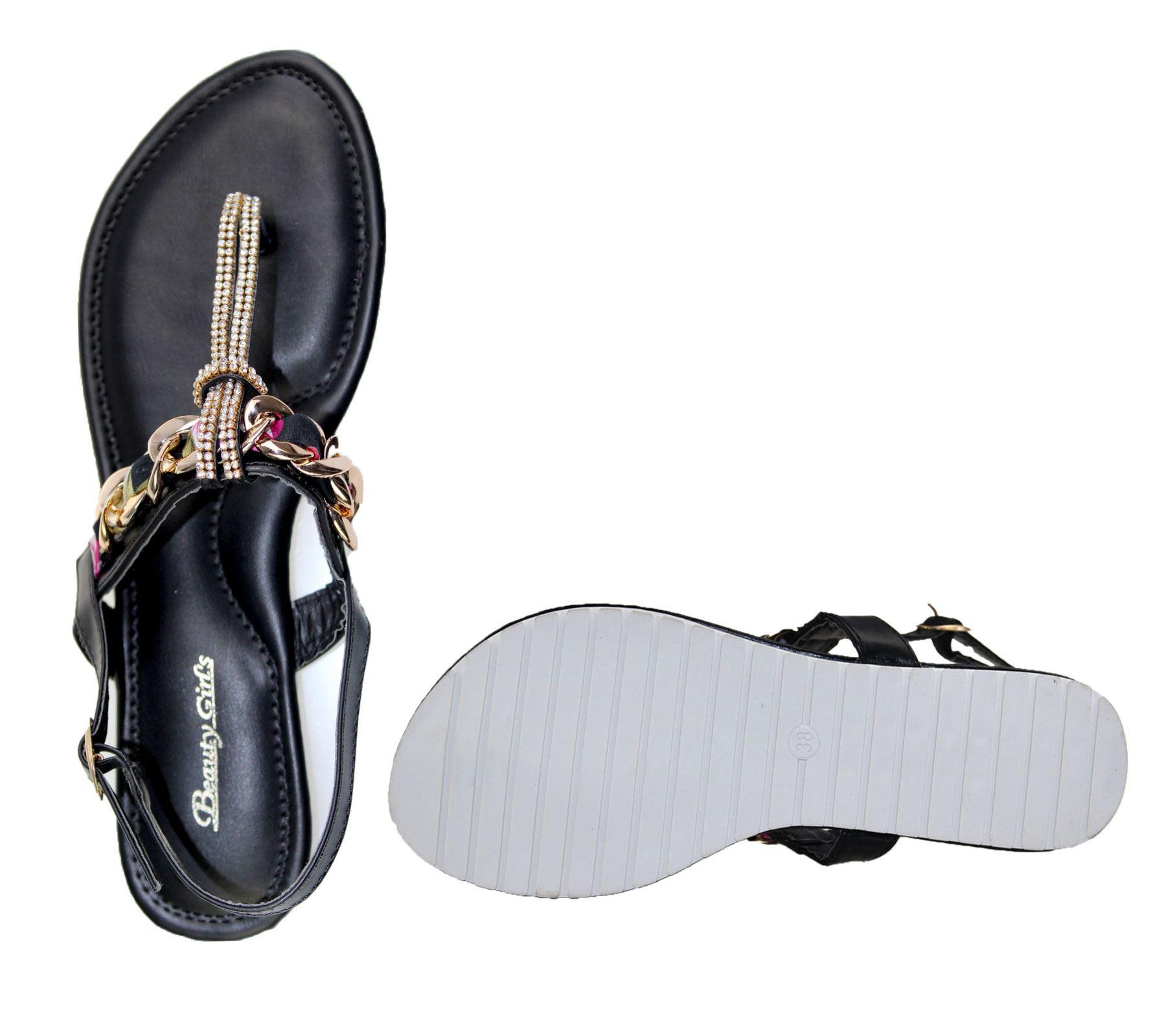 KOLLACHE-Womens-Buckle-Flat-Summer-Caual-Diamonte-Ladies-Evening-Party-Sandals thumbnail 5