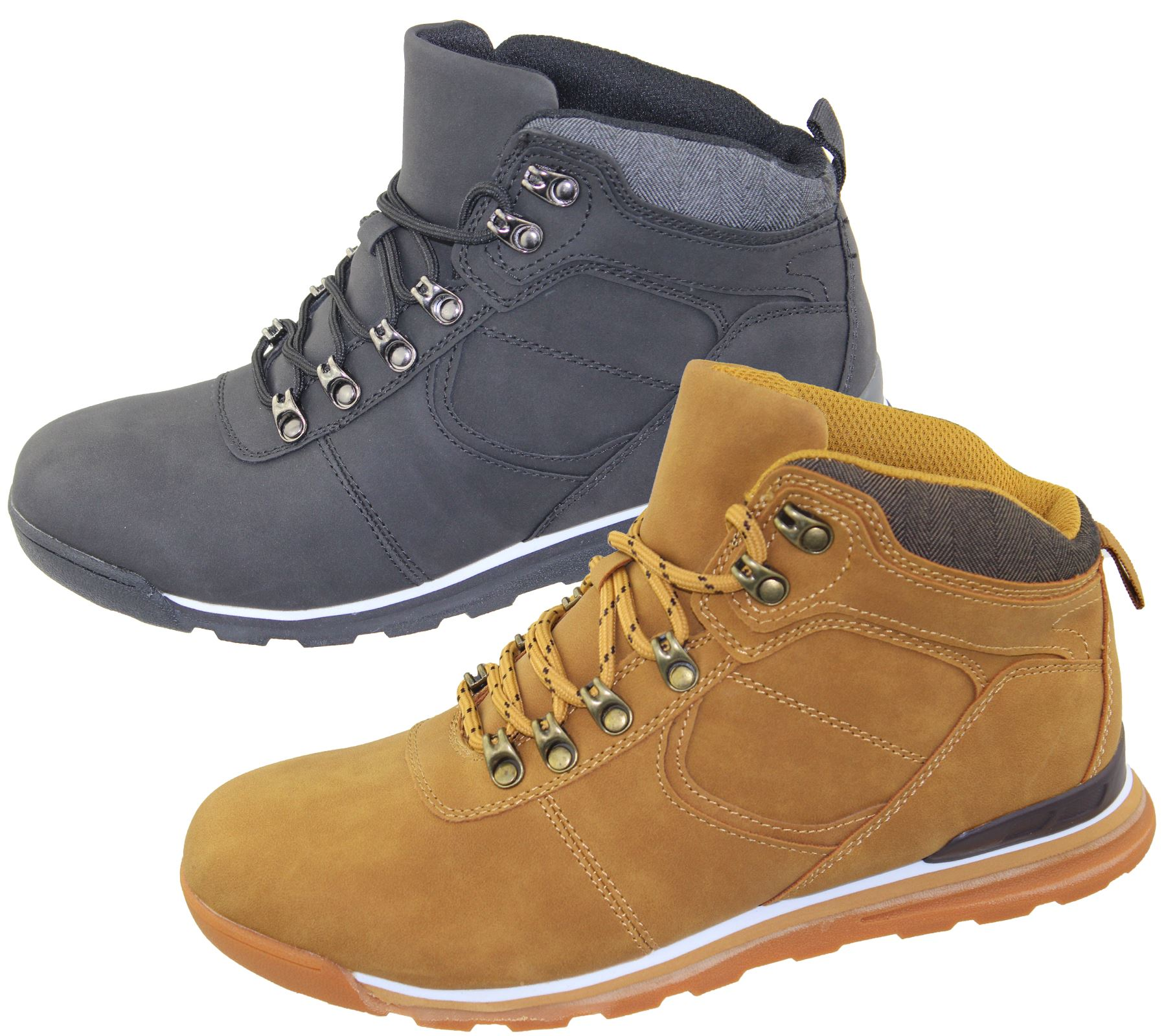 Mens Lace Up Boots Winter Combat Hiking Work High Top ...