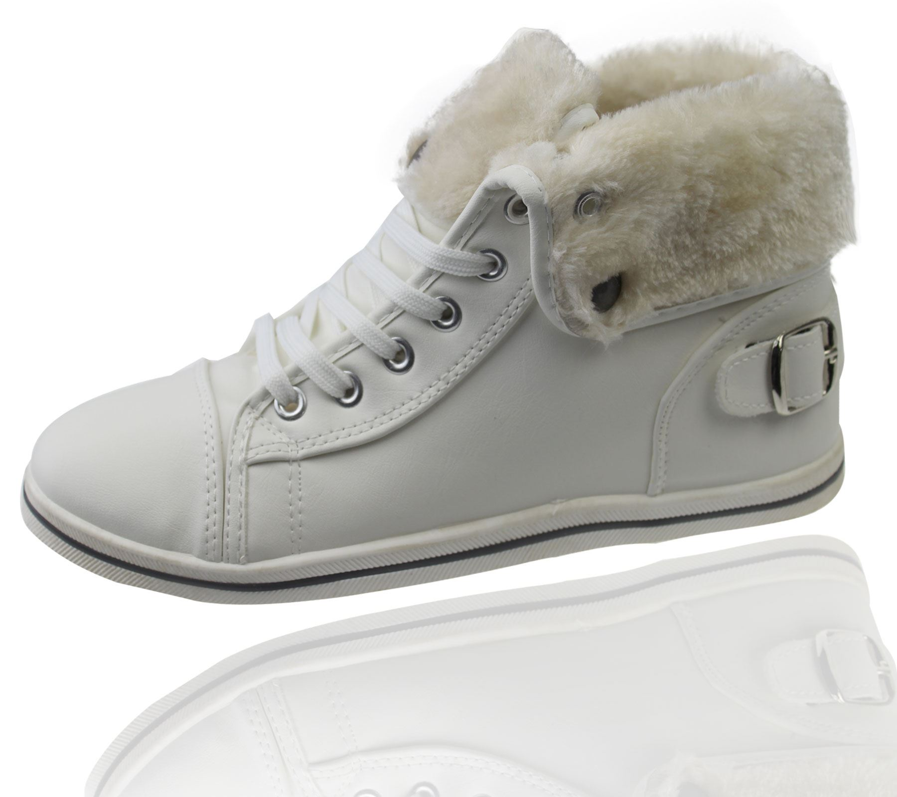 Girls-Boots-Womens-Warm-Lined-High-Top-Ankle-Trainer-Ladies-Winter-Shoes-Size miniatura 70