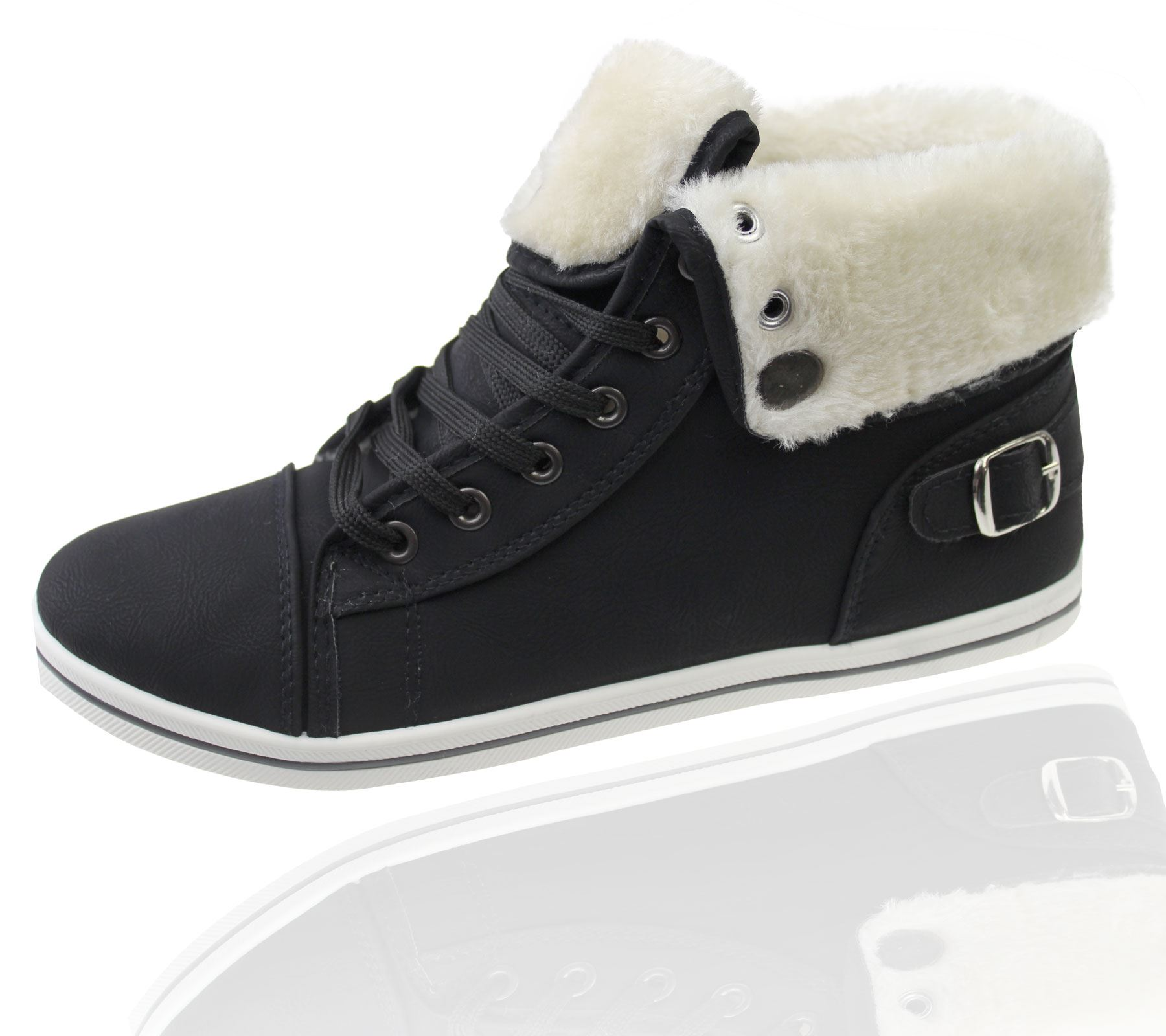 Girls-Boots-Womens-Warm-Lined-High-Top-Ankle-Trainer-Ladies-Winter-Shoes-Size miniatura 88