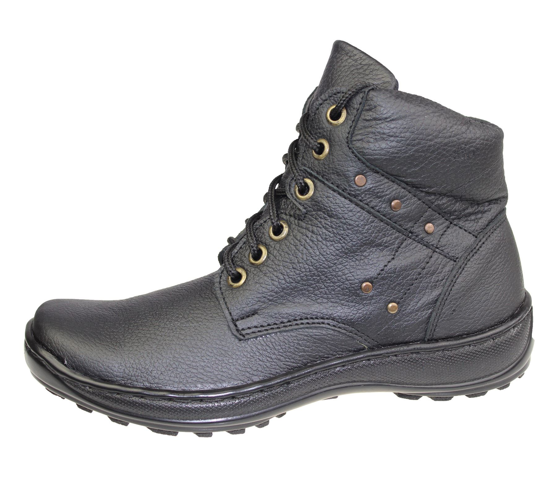 mens leather work boots lace up high top ankle hiking