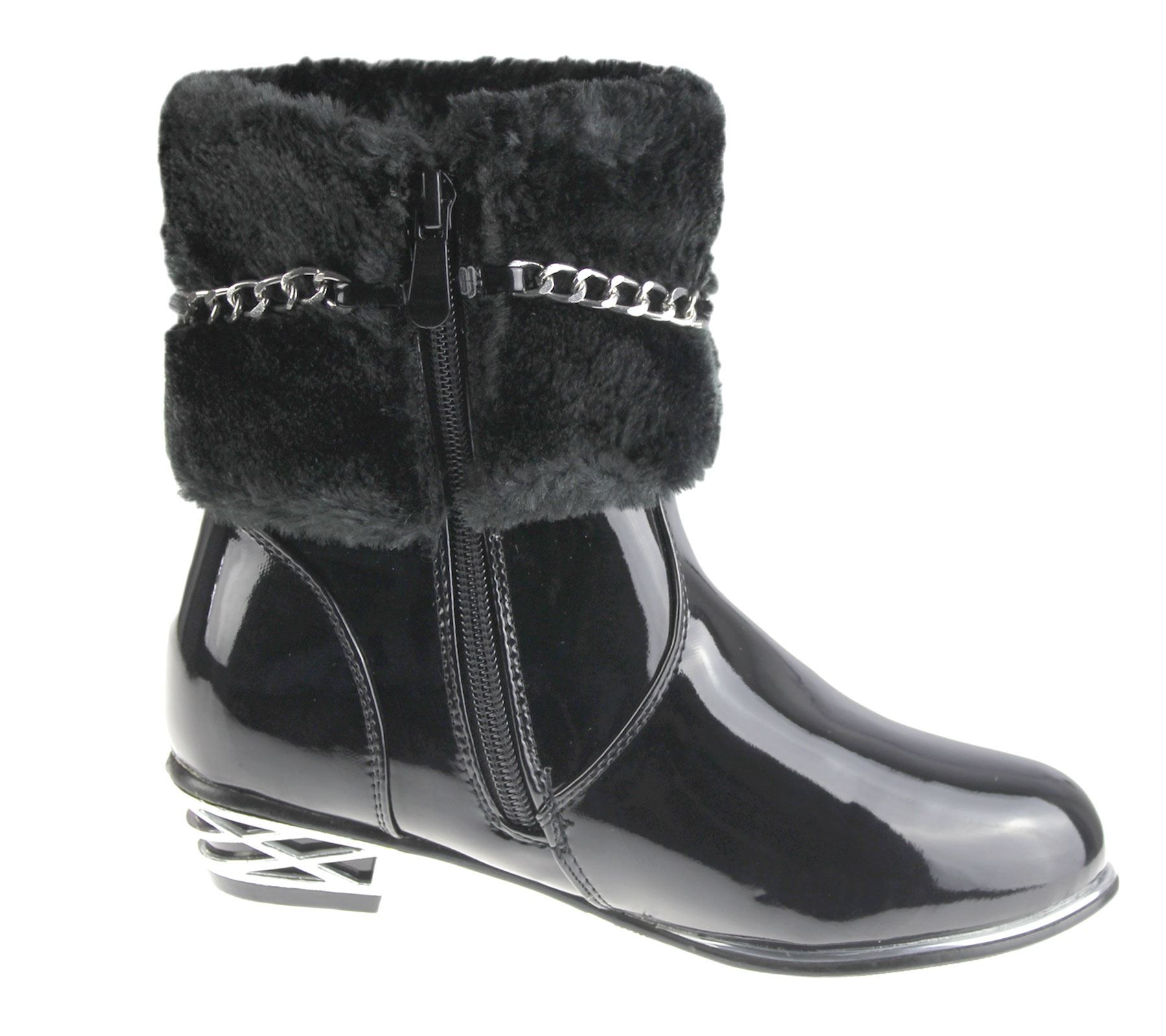 Girls Fur Lined Boots Kids Winter Warm Fancy Party High Top Patent ...