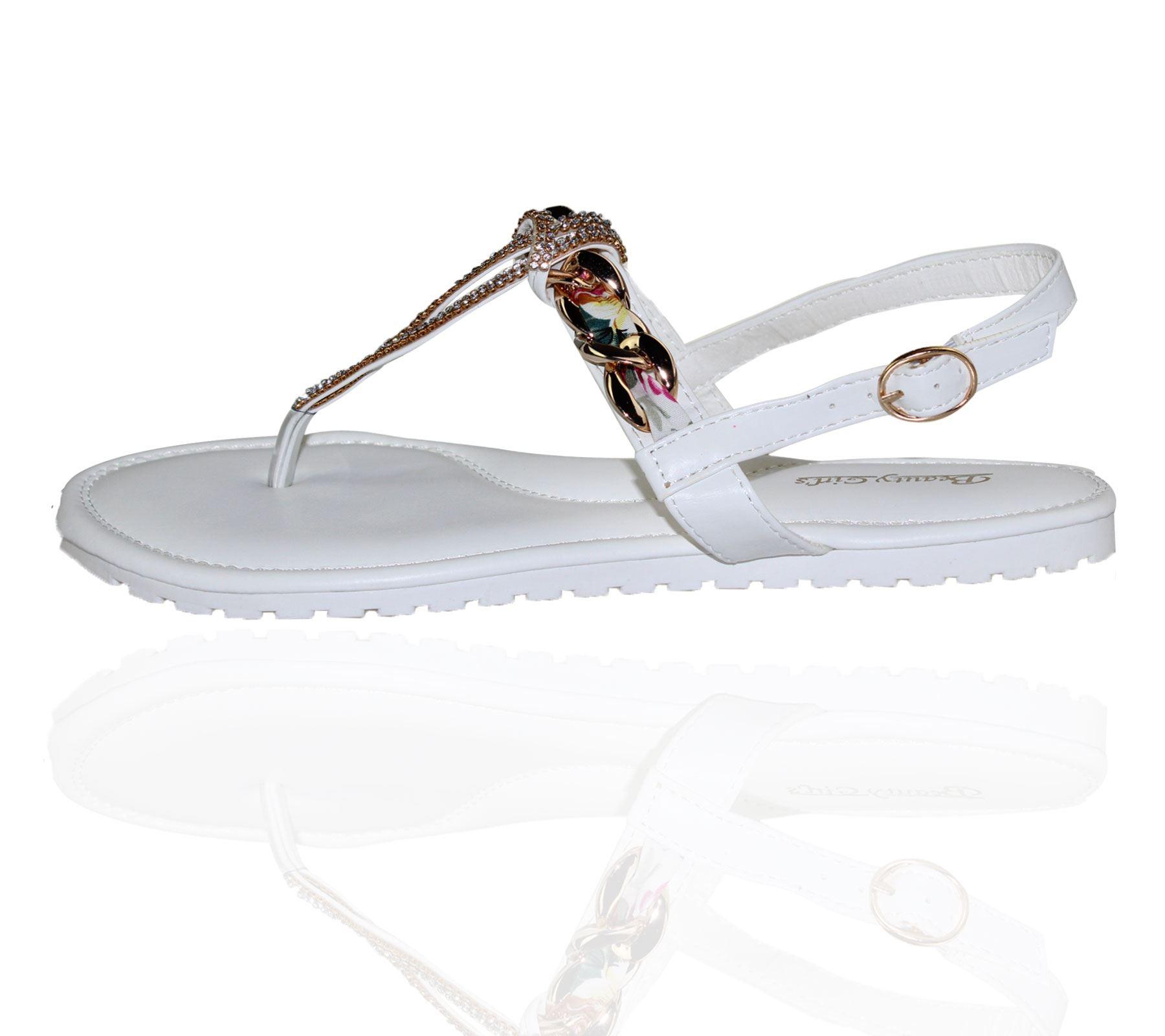 KOLLACHE-Womens-Buckle-Flat-Summer-Caual-Diamonte-Ladies-Evening-Party-Sandals thumbnail 7