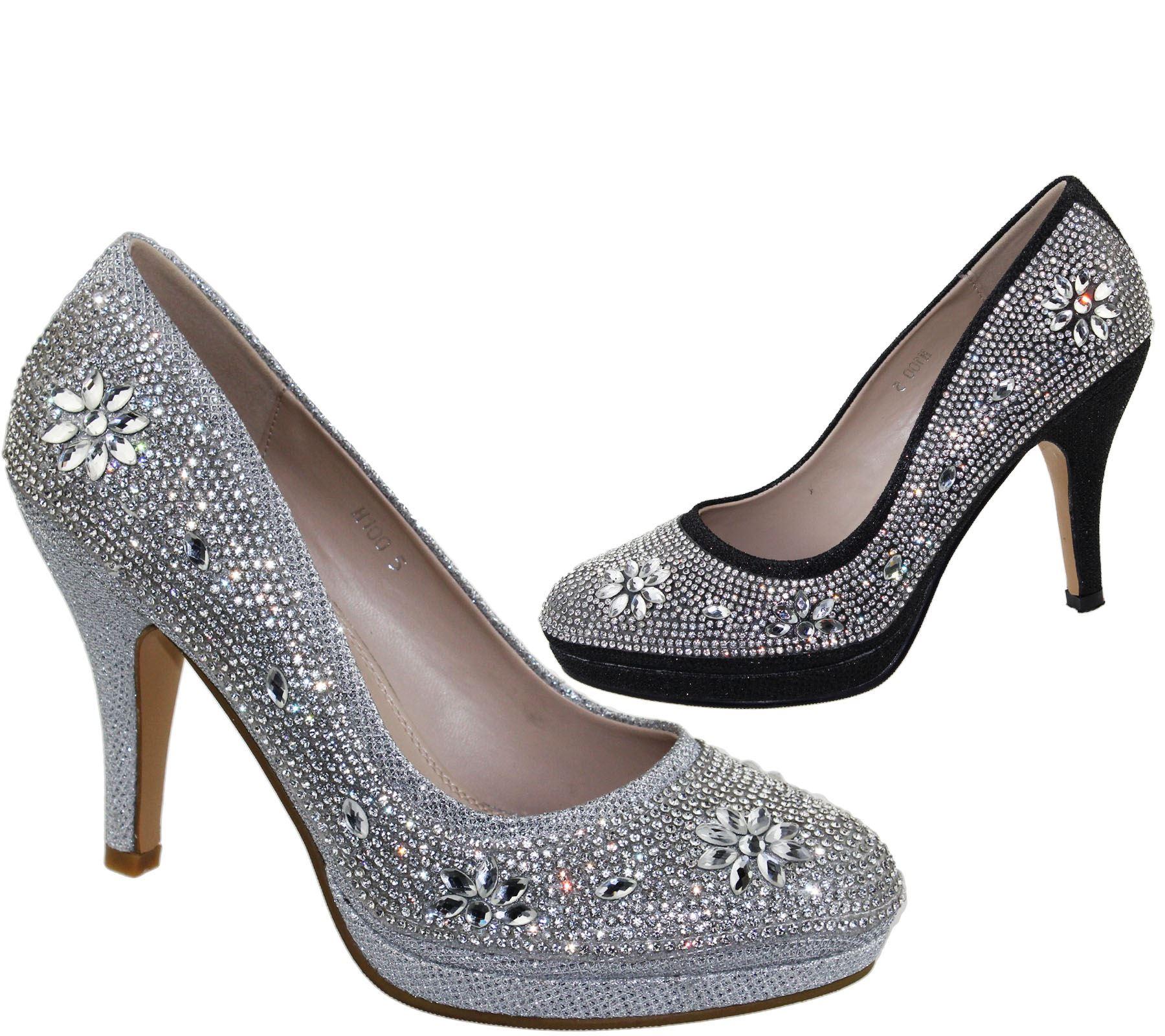 Womens-Platforms-High-Heels-Wedding-Bridal-Evening-Diamante-Ladies-Party-Shoes miniatura 19