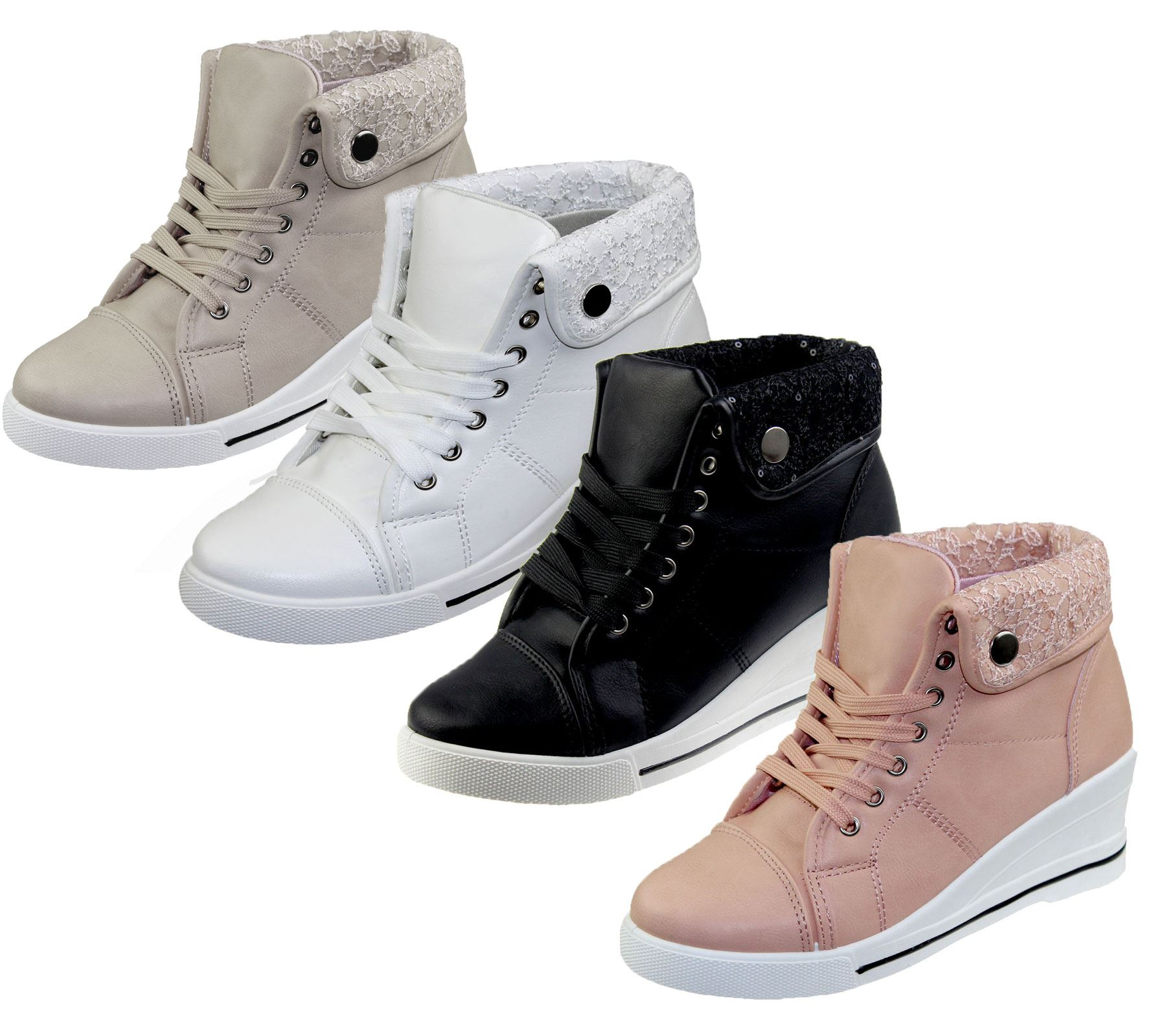 WOMENS WEDGE HEEL FAUX LEATHER HIGH TOP BOOTS LADIES ANKLE SNEAKER ...