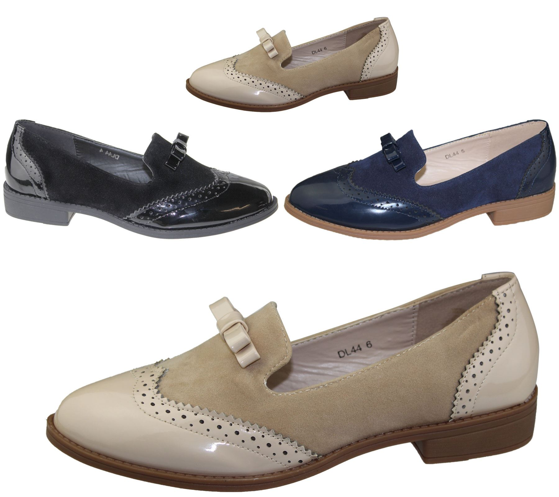 slip on brogues womens bow embellished casual