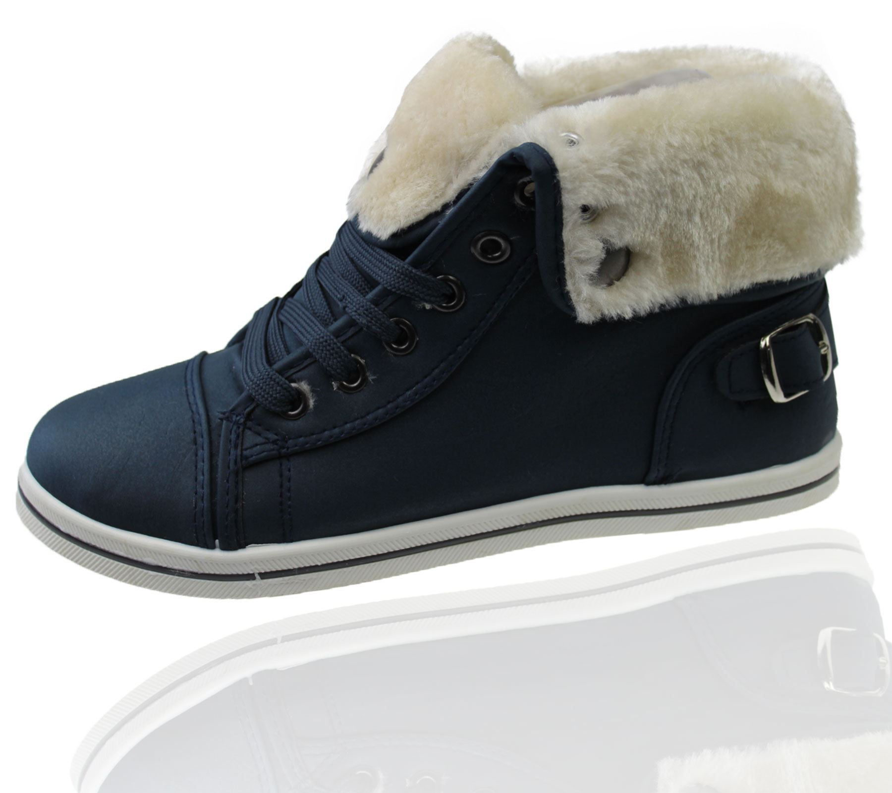 Girls-Boots-Womens-Warm-Lined-High-Top-Ankle-Trainer-Ladies-Winter-Shoes-Size miniatura 25
