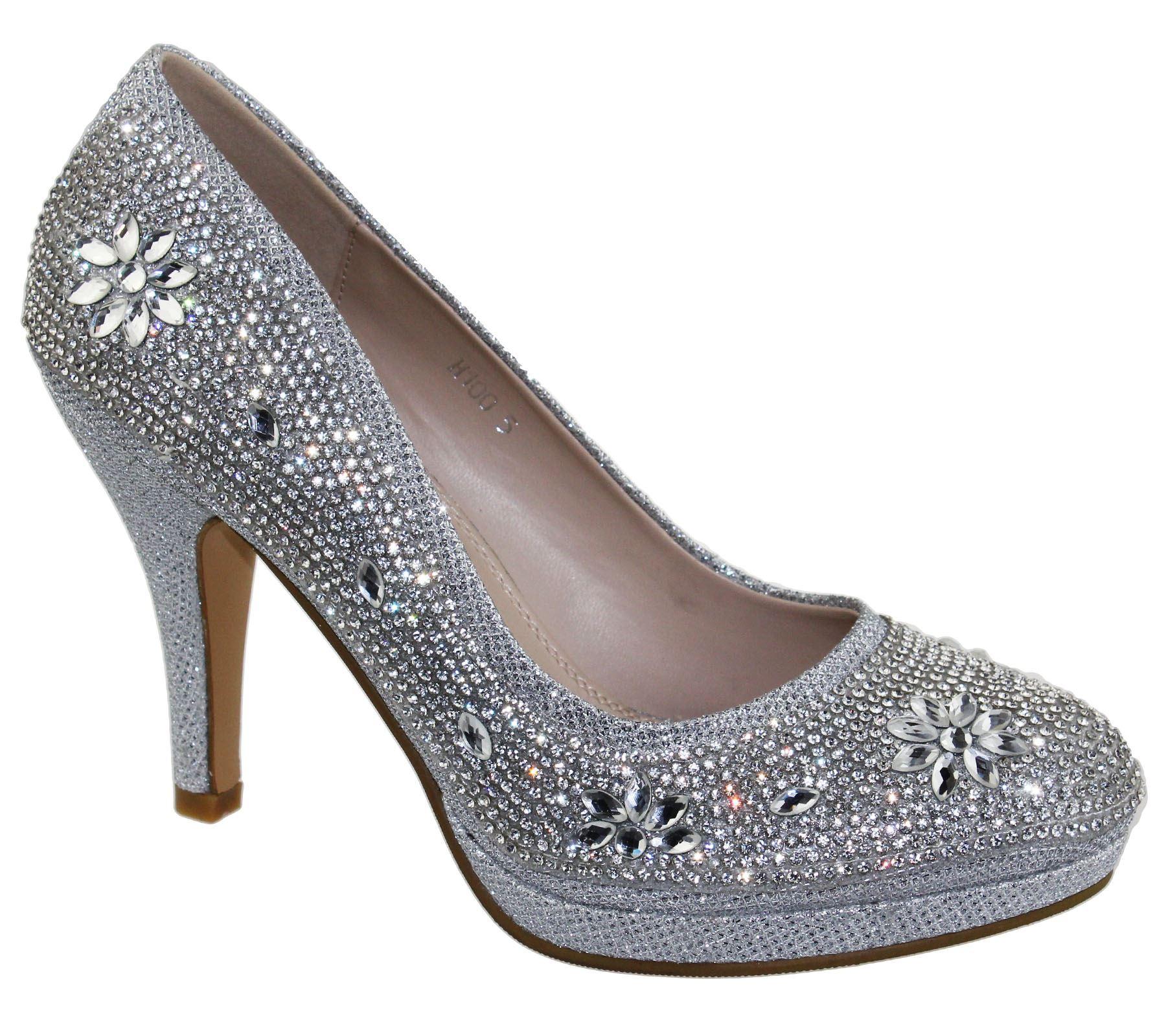 Womens-Platforms-High-Heels-Wedding-Bridal-Evening-Diamante-Ladies-Party-Shoes miniatura 12