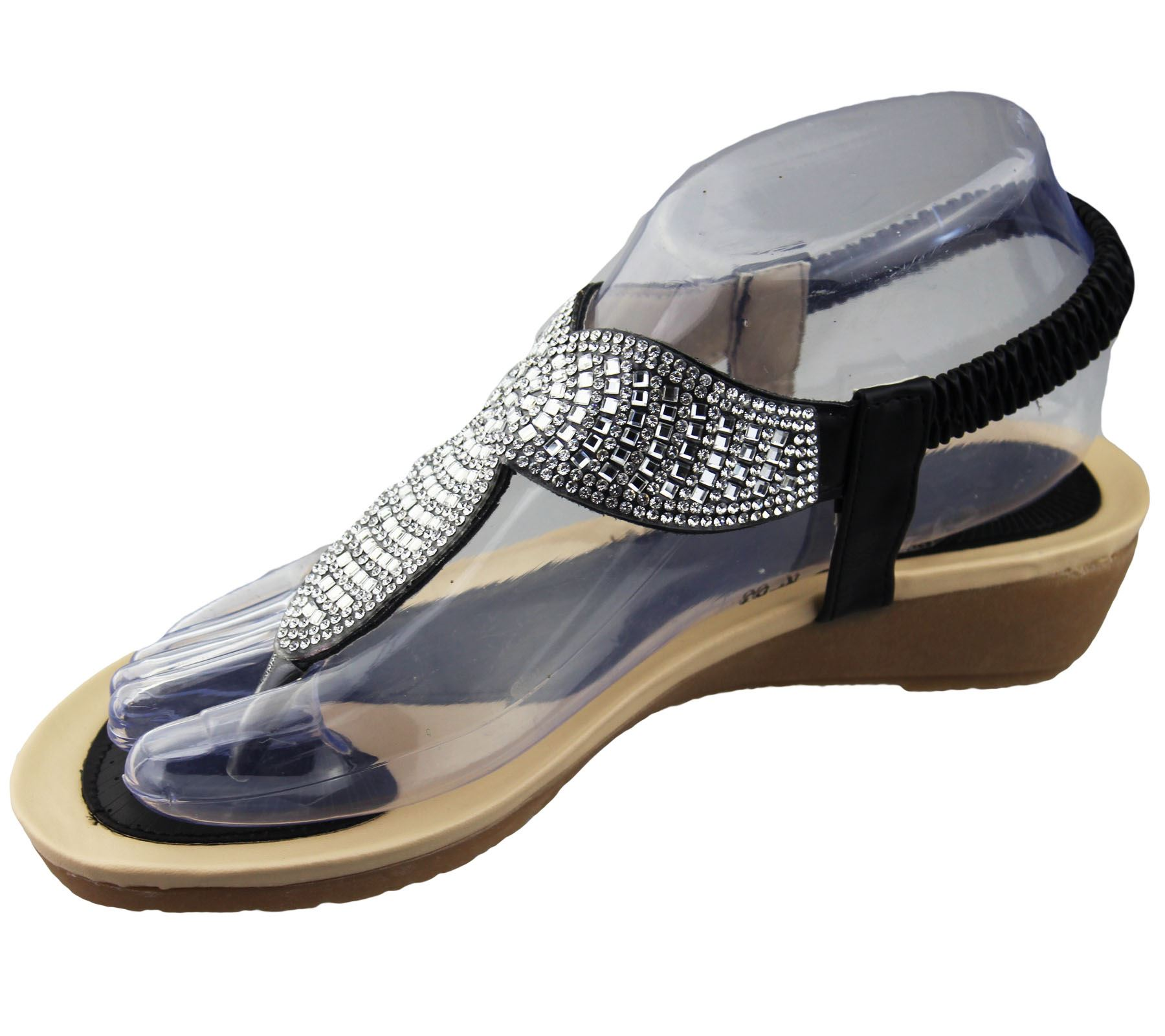 Womens Low Wedge Toe Post Sandals Ladies Diamante Summer ...