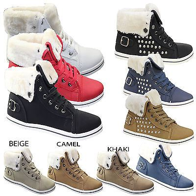 Girls-Boots-Womens-Warm-Lined-High-Top-Ankle-Trainer-Ladies-Winter-Shoes-Size miniatura 91