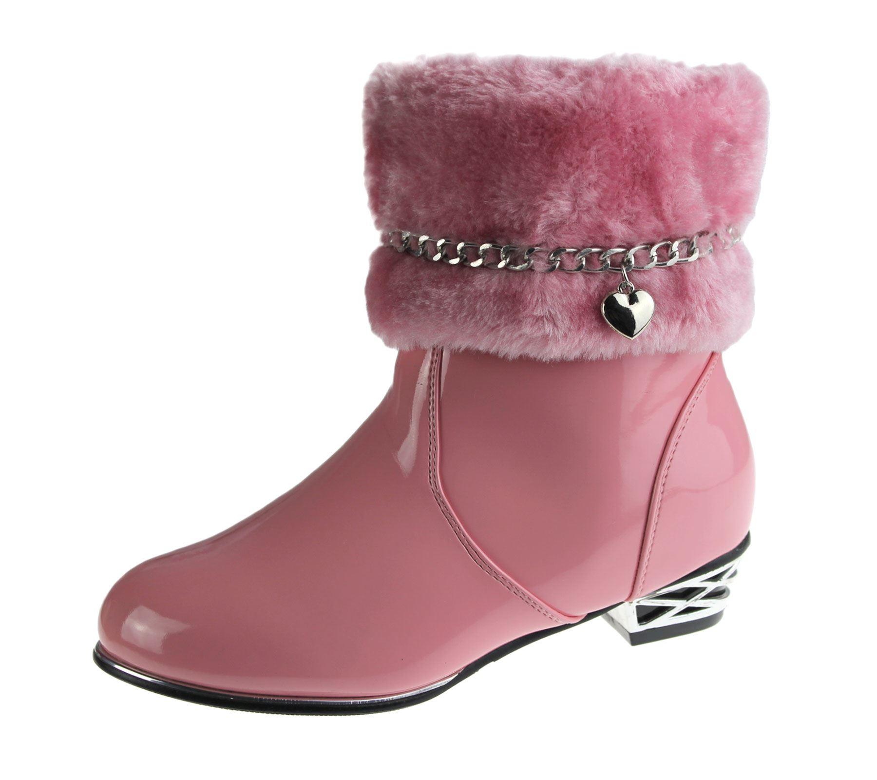 Girls Fur Lined Boots Kids Winter Warm Fancy Party High