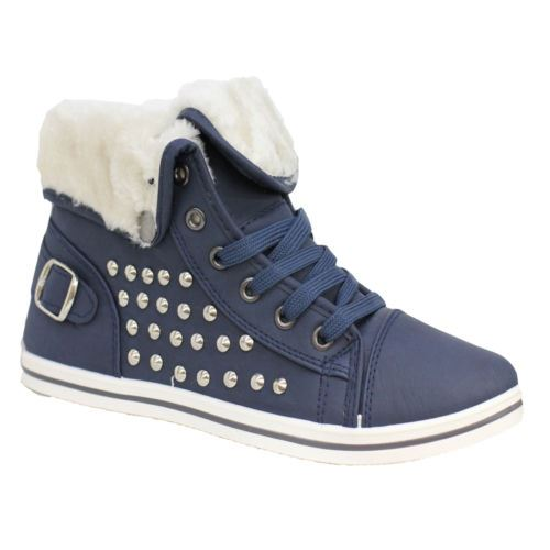 Girls-Boots-Womens-Warm-Lined-High-Top-Ankle-Trainer-Ladies-Winter-Shoes-Size miniatura 36