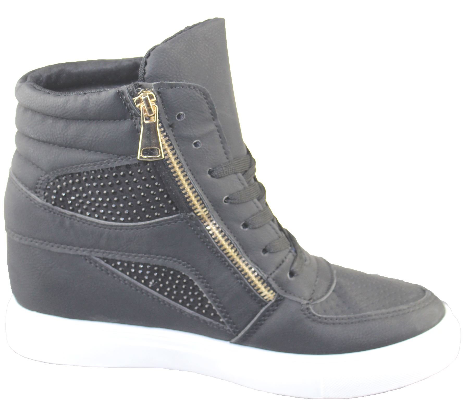 Womens Wedge Trainers Ladies Ankle Boots Sneakers Girl High Top Shoes