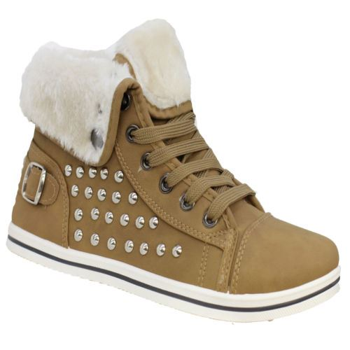 Girls-Boots-Womens-Warm-Lined-High-Top-Ankle-Trainer-Ladies-Winter-Shoes-Size miniatura 18
