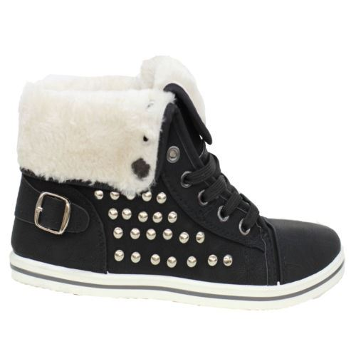 Girls-Boots-Womens-Warm-Lined-High-Top-Ankle-Trainer-Ladies-Winter-Shoes-Size miniatura 96