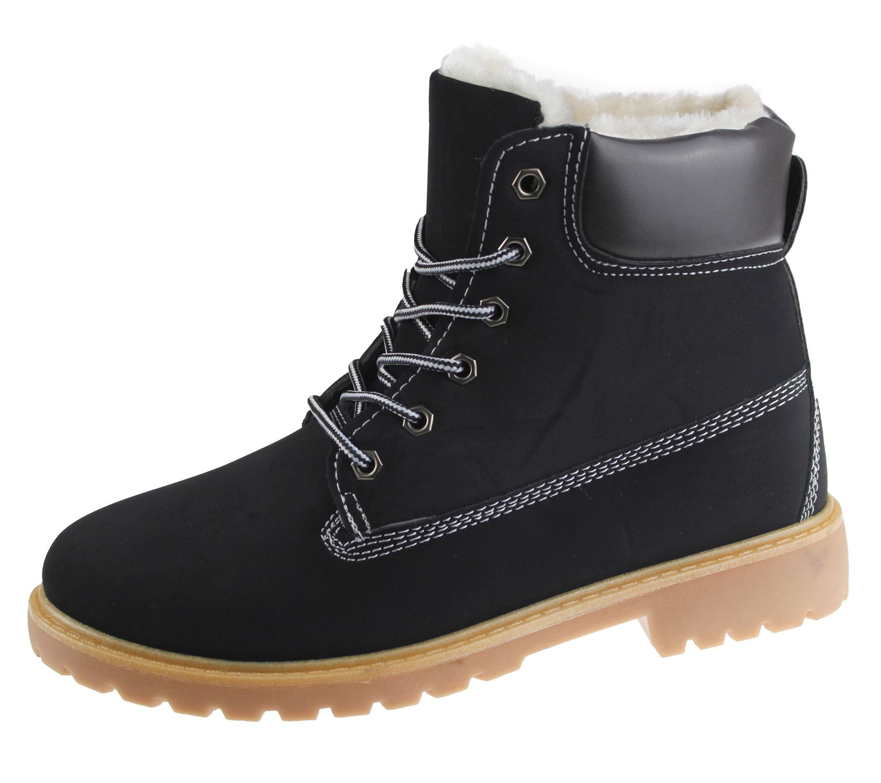 Womens Fur Lined Boots Winter Warm Combat Hiking Work High Top Ankle Shoes Size | EBay