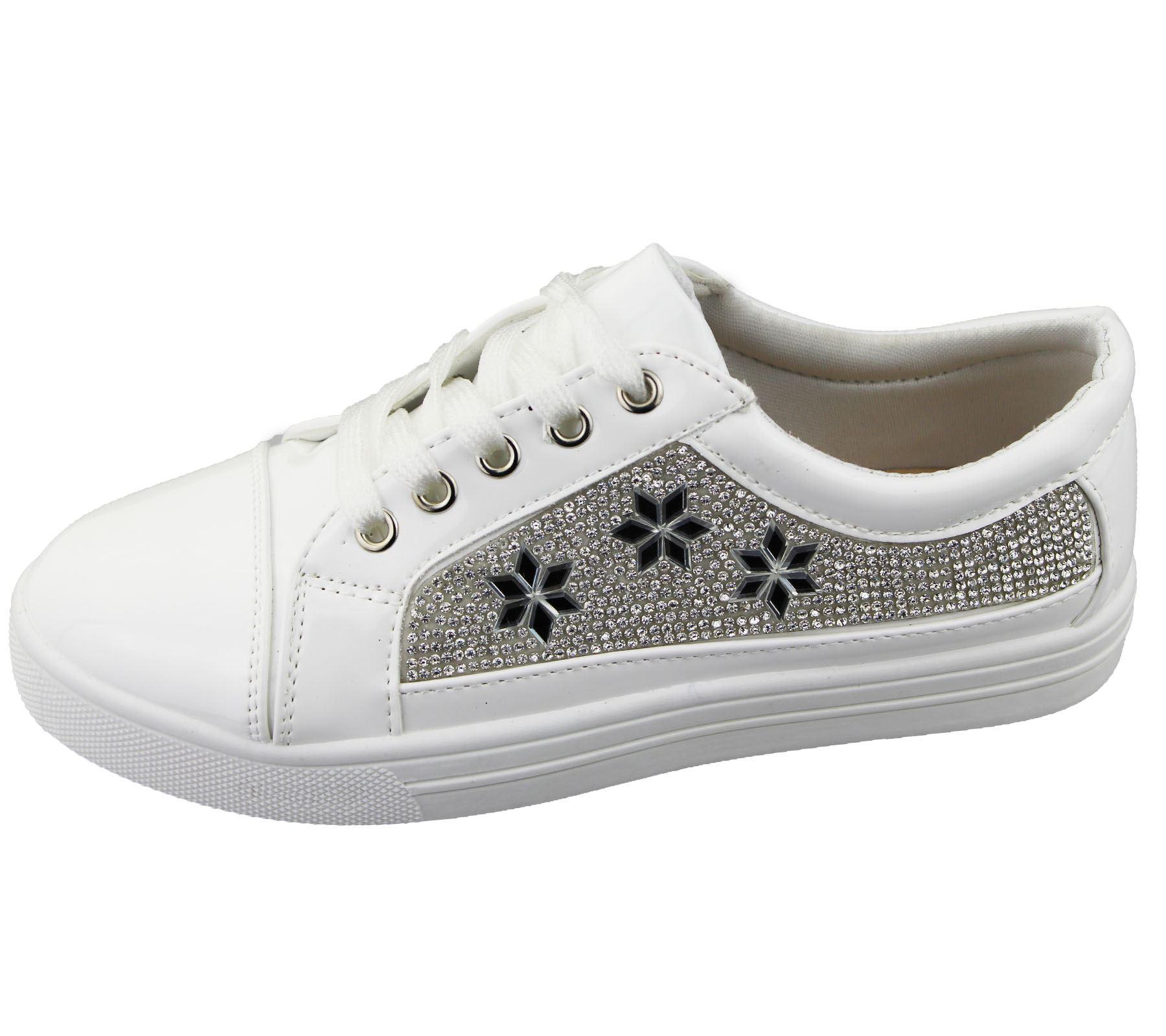 womens sneakers flat pumps diamante summer plimsole