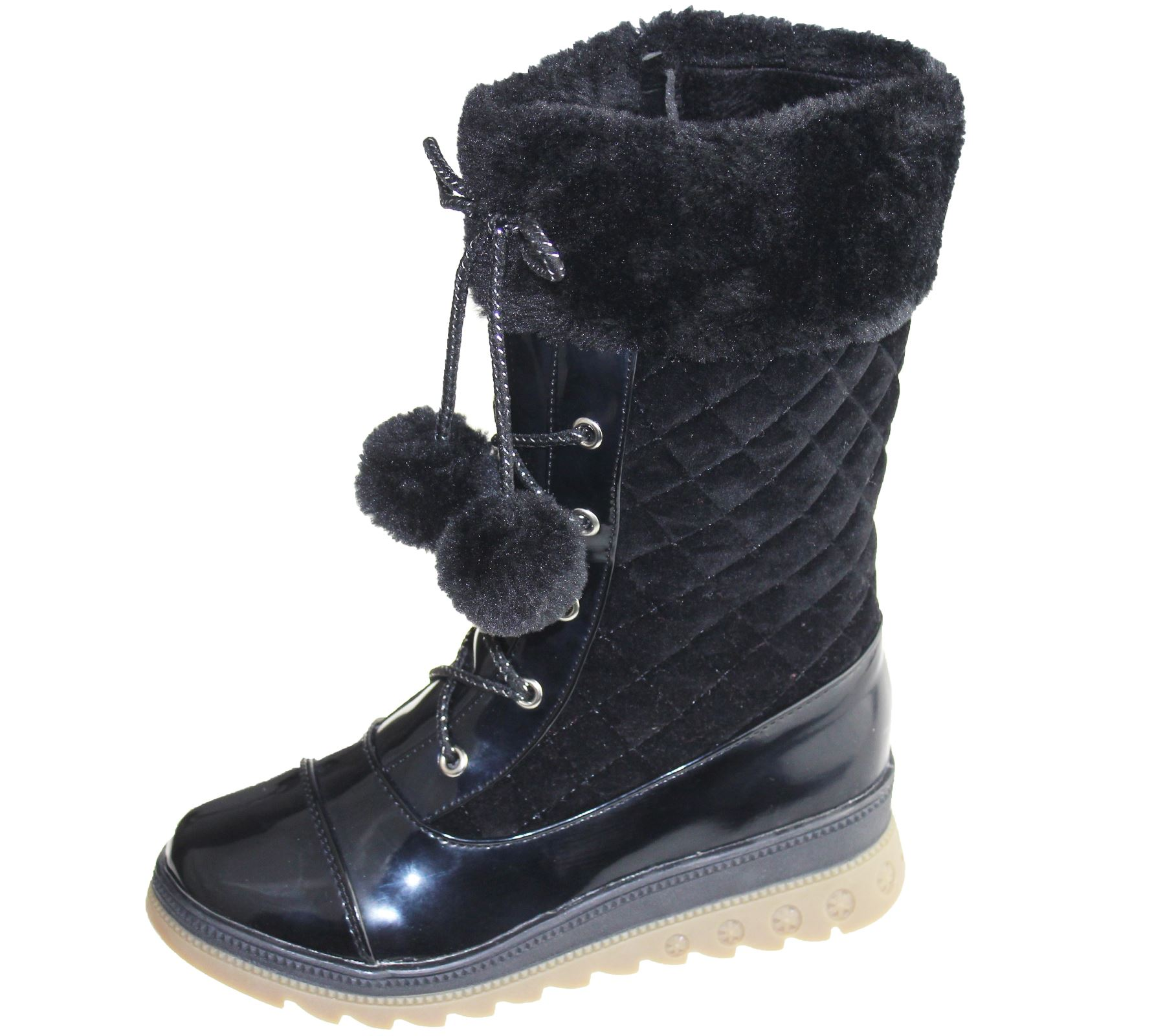 Girls Warm Lined Boots Quilted Winter Warm Christmas High