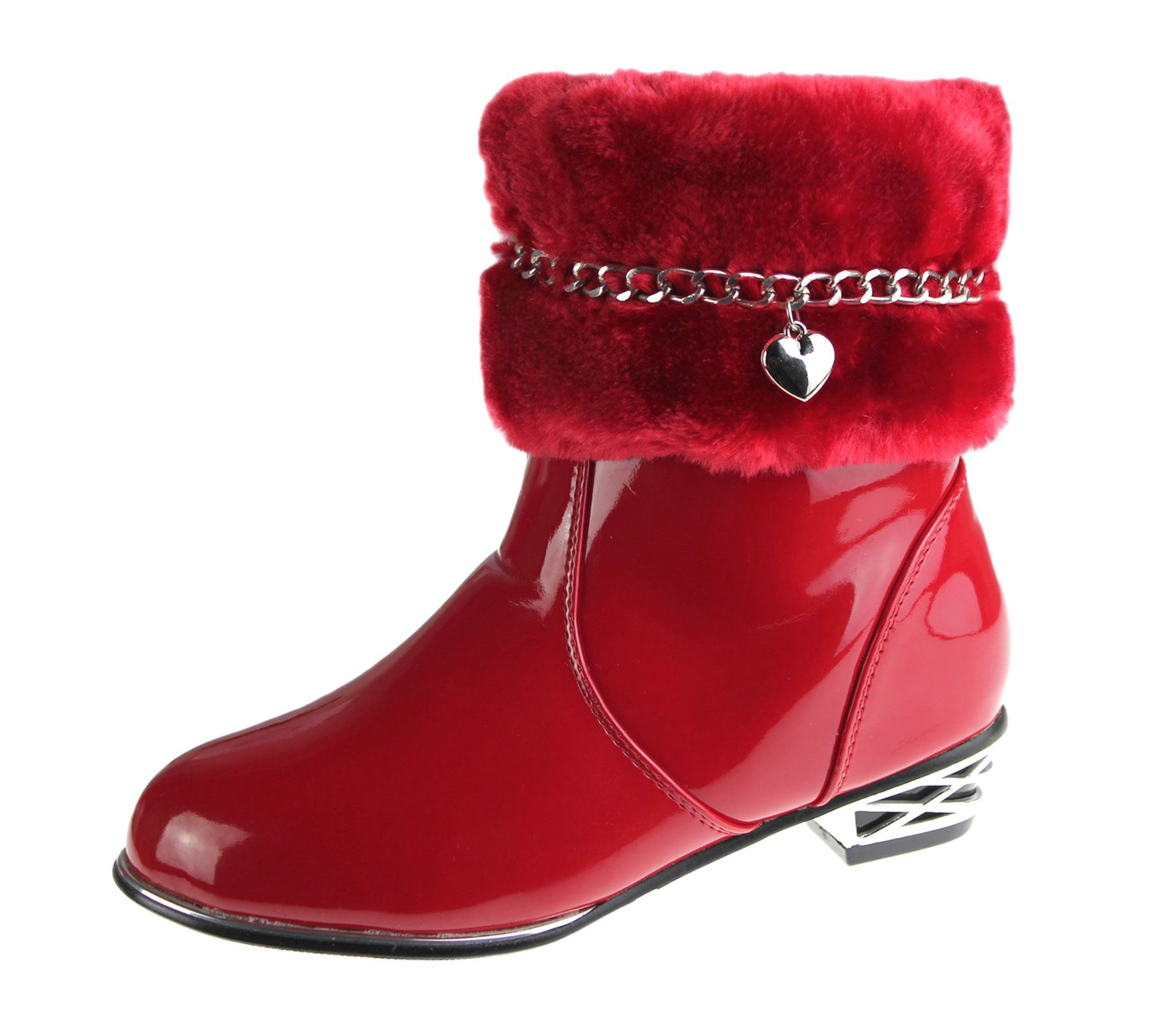 Girls Fur Lined Boots Kids Winter Warm Fancy Party High