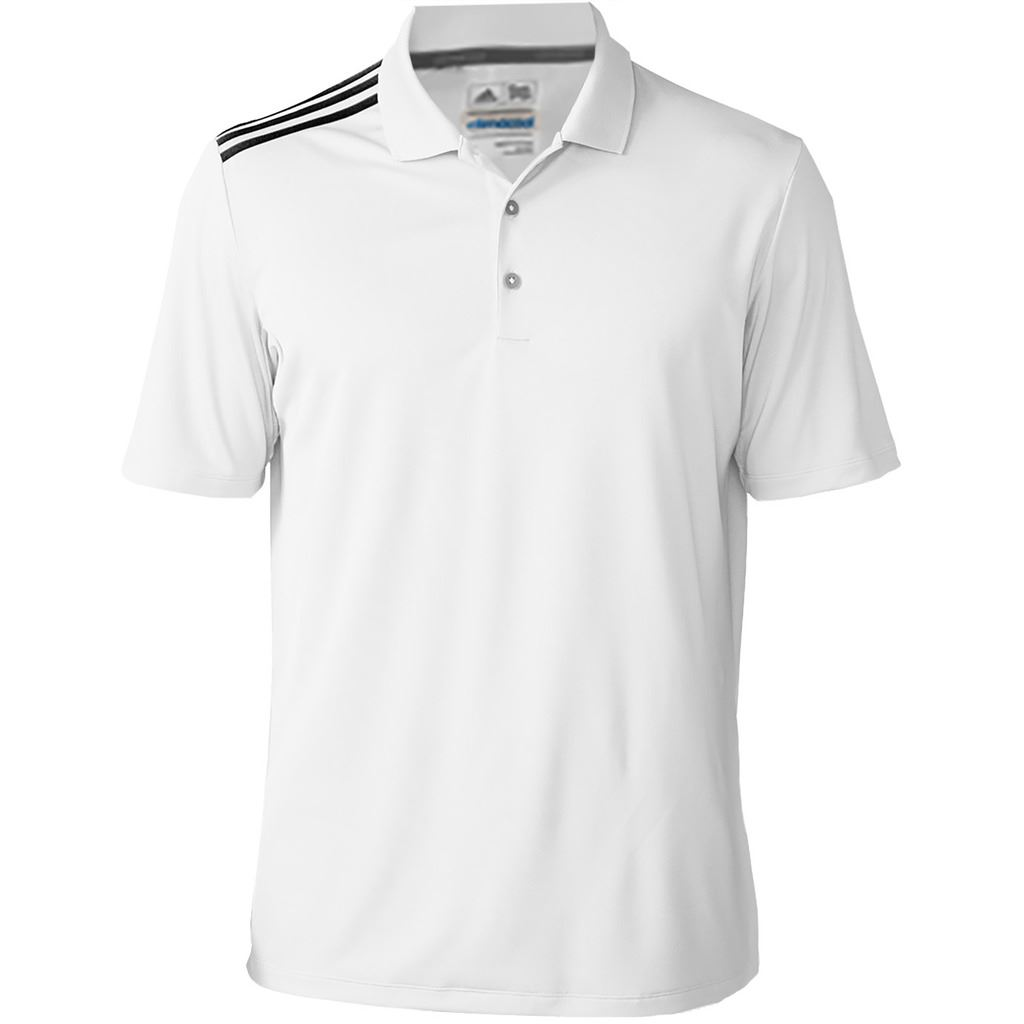 2016 adidas mens climacool 3 stripes golf polo shirt ebay. Black Bedroom Furniture Sets. Home Design Ideas