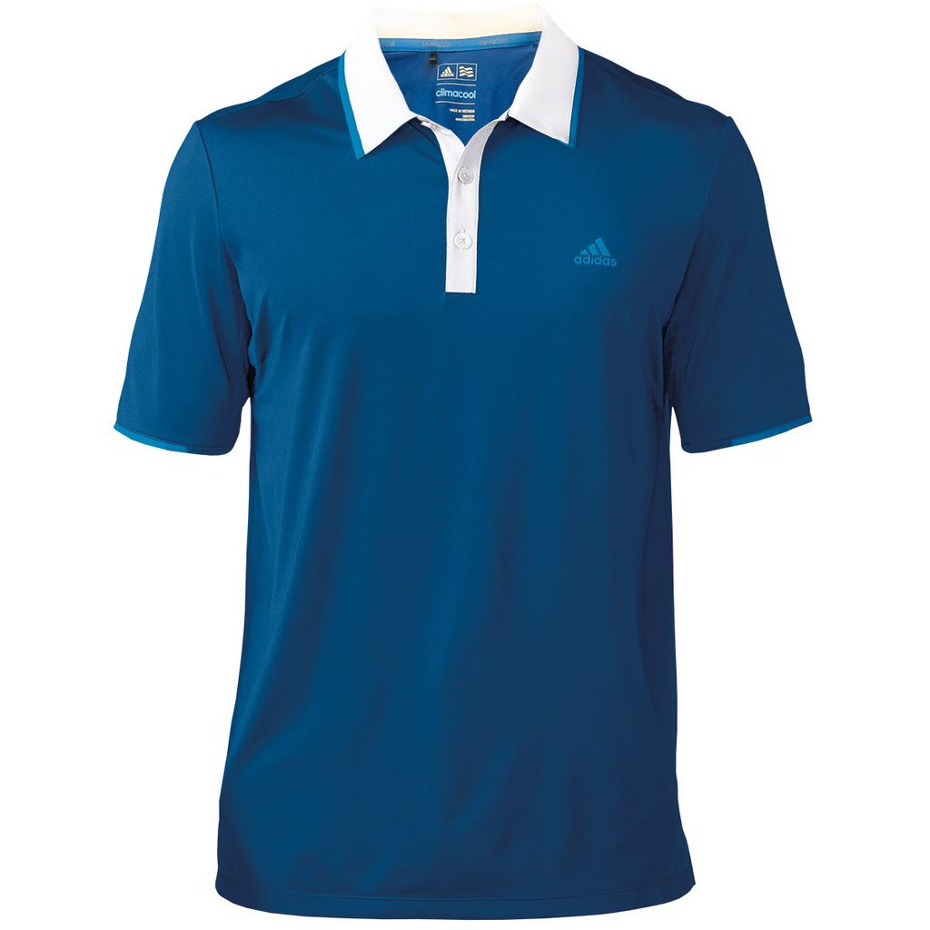 new adidas mens climacool branded performance golf polo