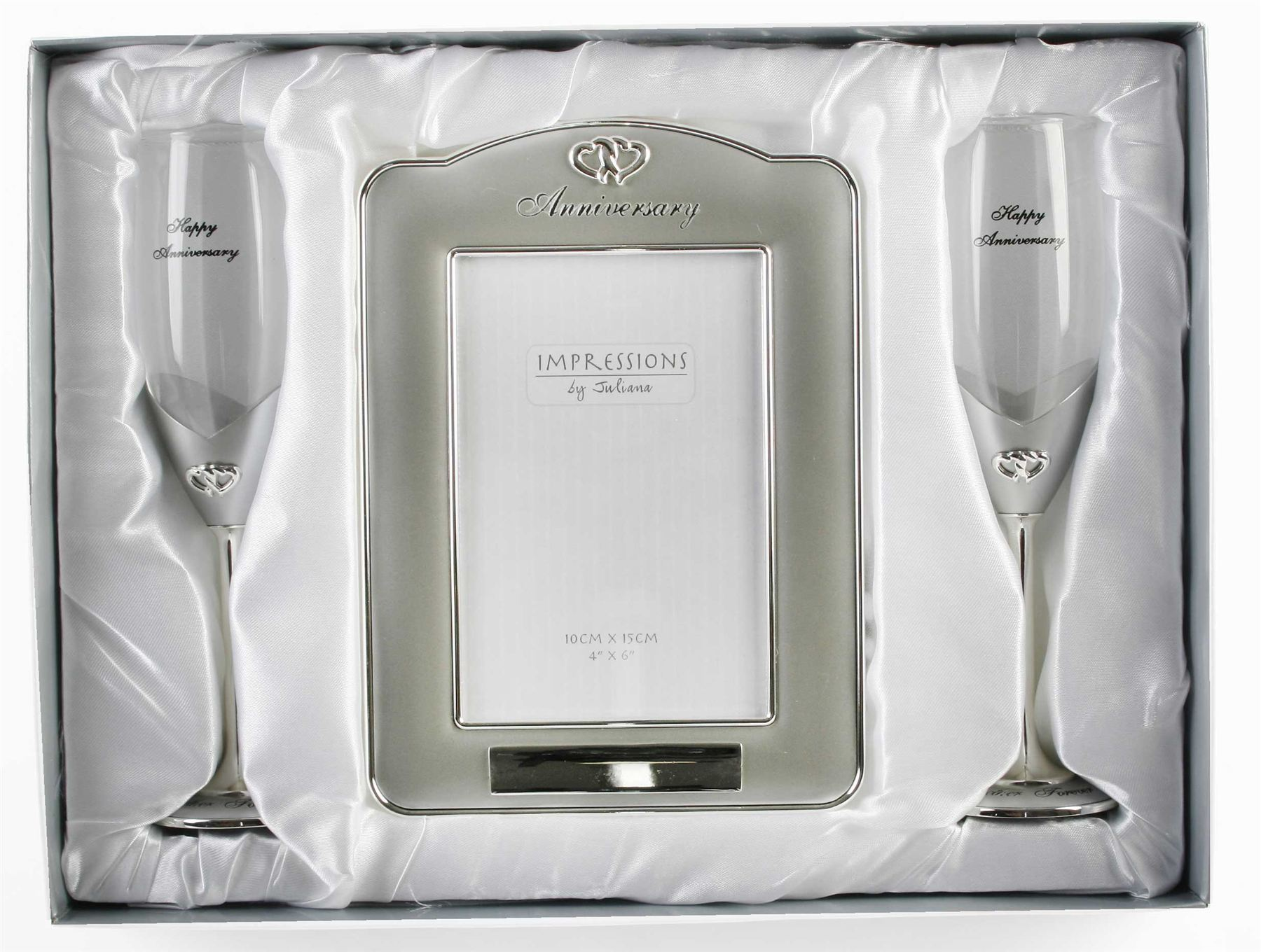 Champagne Glasses Photo Frame : Silver Plated Champagne Flutes and Photo Frame Set by ...