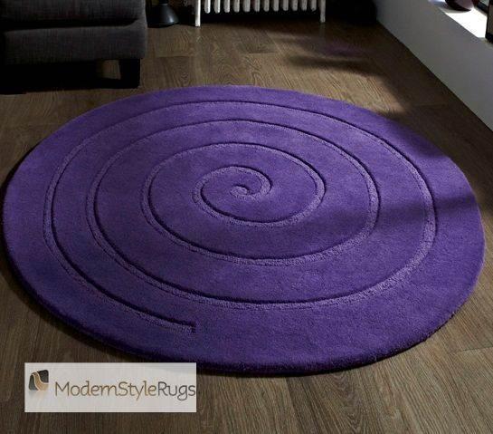 Purple Circle Rugs: Modern Purple Aubergine Plum Colour Rugs In Large Small