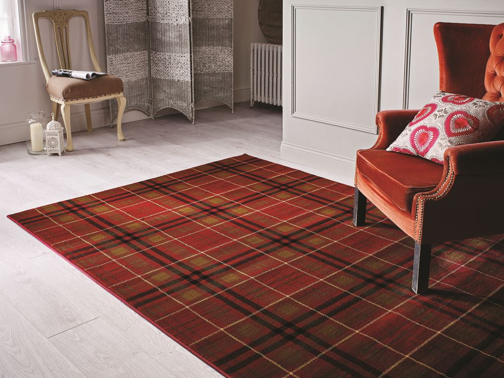 Tartan Hard Wearing Quality Checkered Rug Soft Touch Red