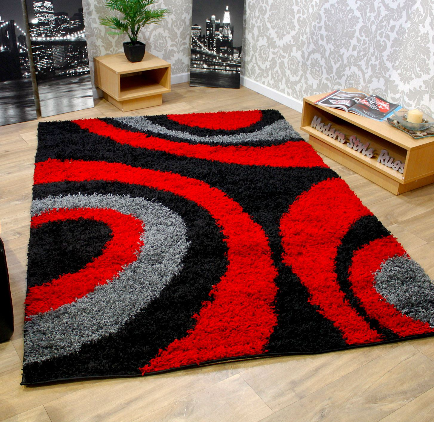 Black And White Extra Large Rug: Black Grey Red Shaggy 5cm Thick Non Shed Shag Pile Extra