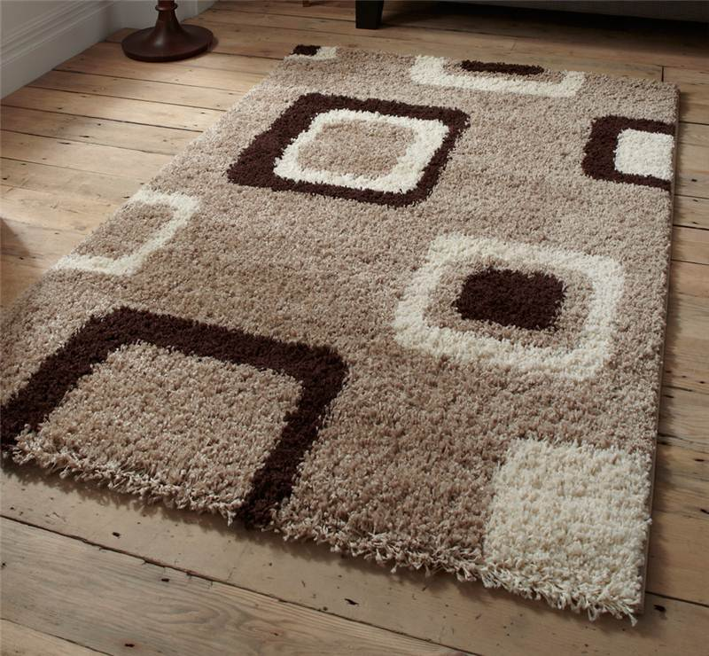 Cheap Green Rugs: Brown Beige Green Check Squares Damask Black Shaggy Modern