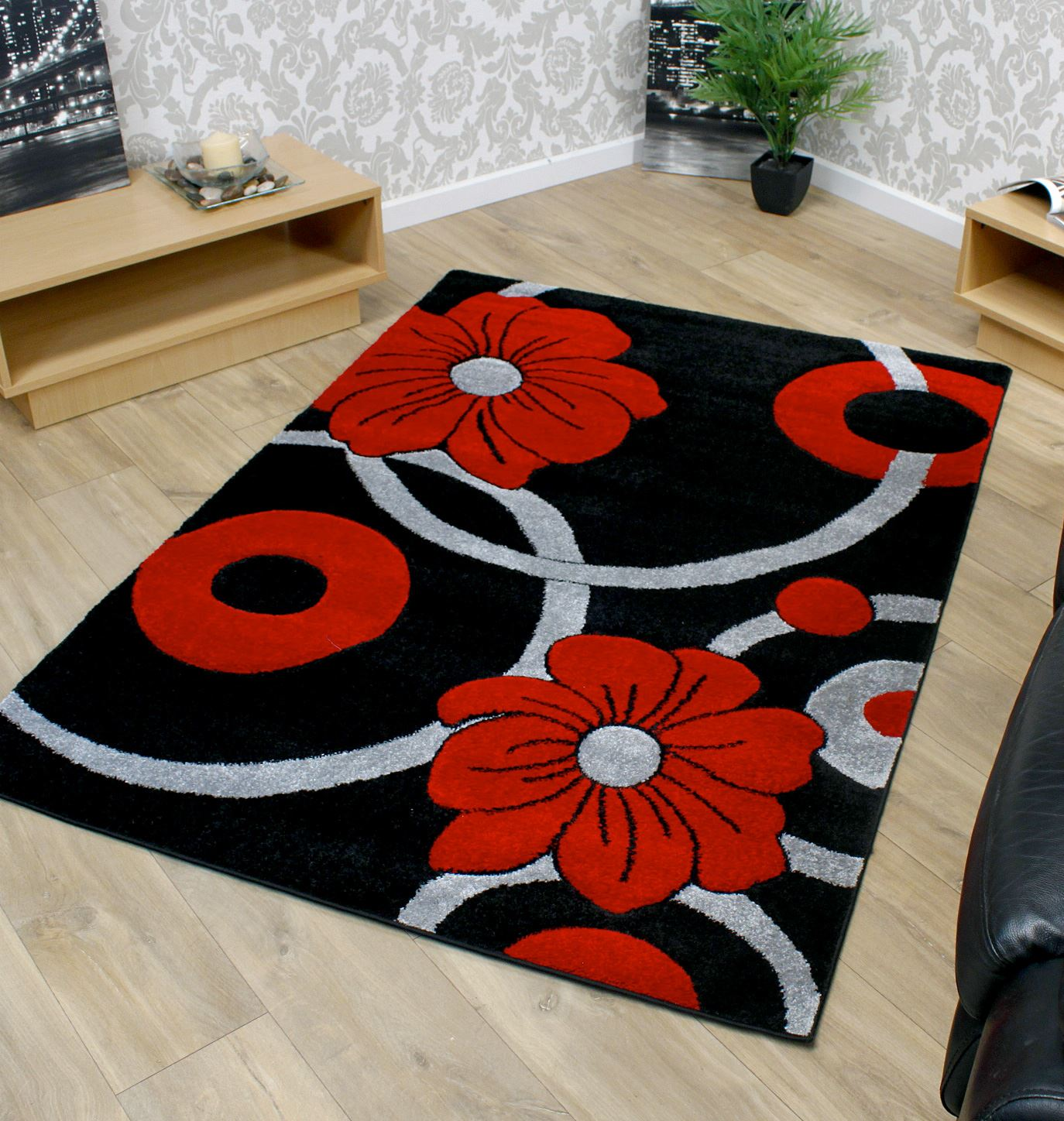 Black Grey And Red Circle Flowers Pattern Modern Style Rug
